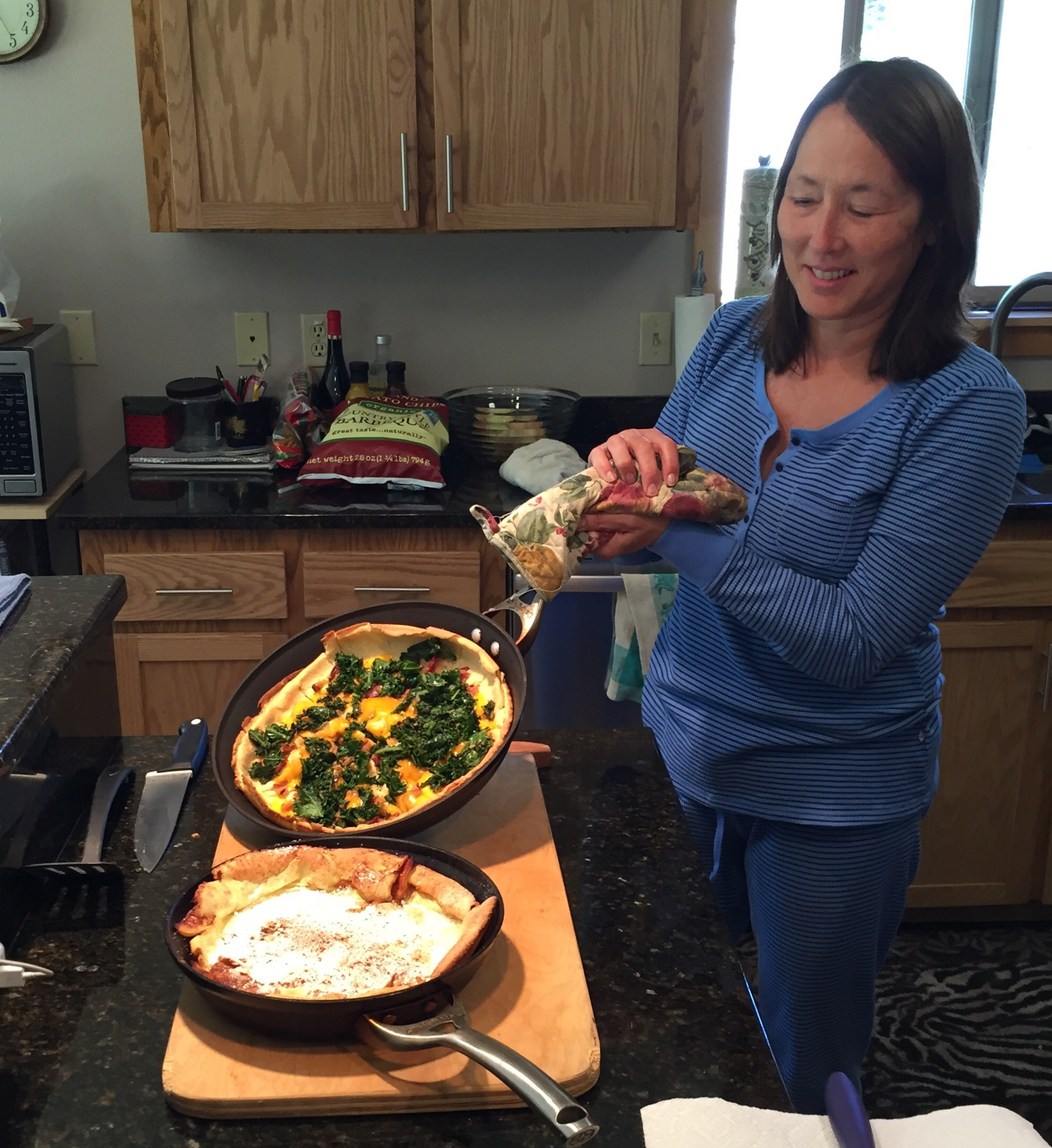 A sweet and a savory Dutch baby - both delicious!!