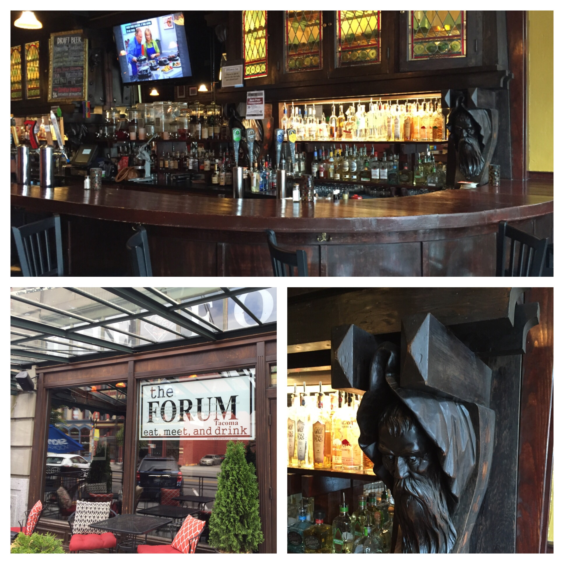 The bar and stained glass were made in France in the late 1800's and shipped over to Tacoma.