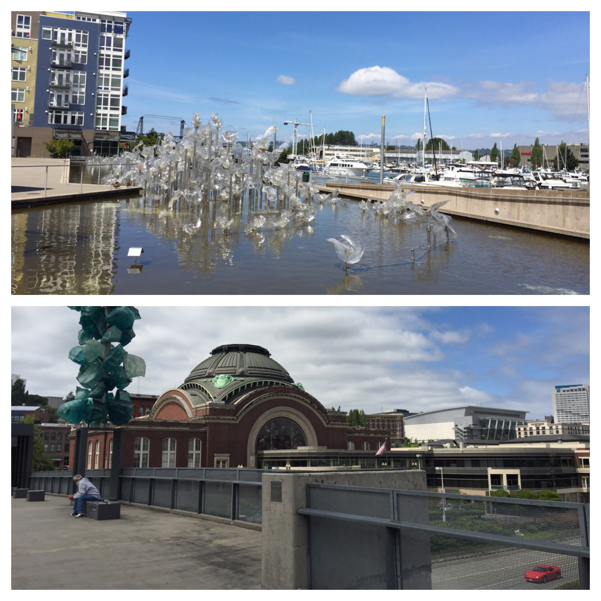 Top is Chihuly sculpture in front of the museum and bottom is the art bridge extending over the highway - very cool!