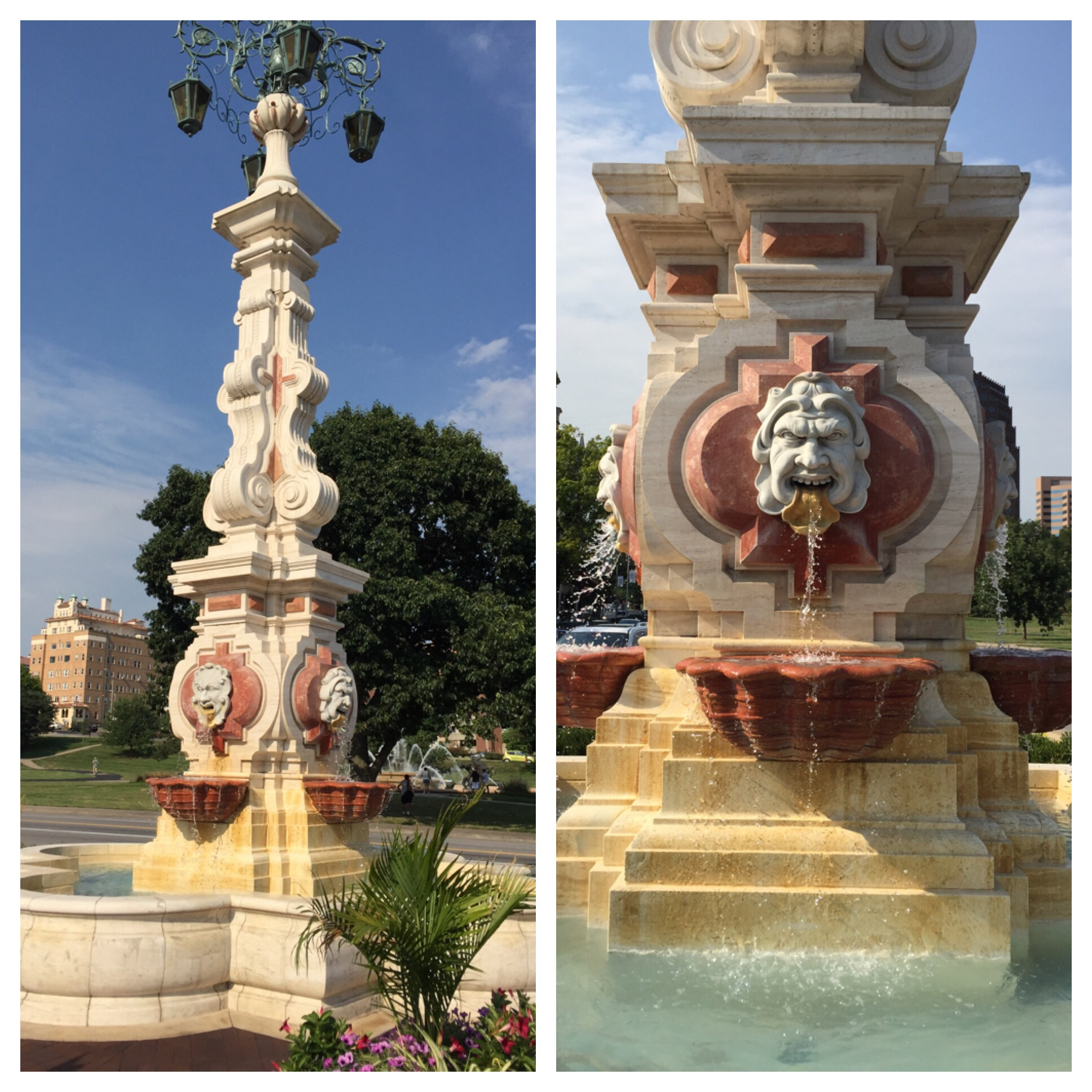 Seville Light Fountain - an exact replica of the Plaza de Los Reyes fountain in Seville, Spain. I love the faces!!