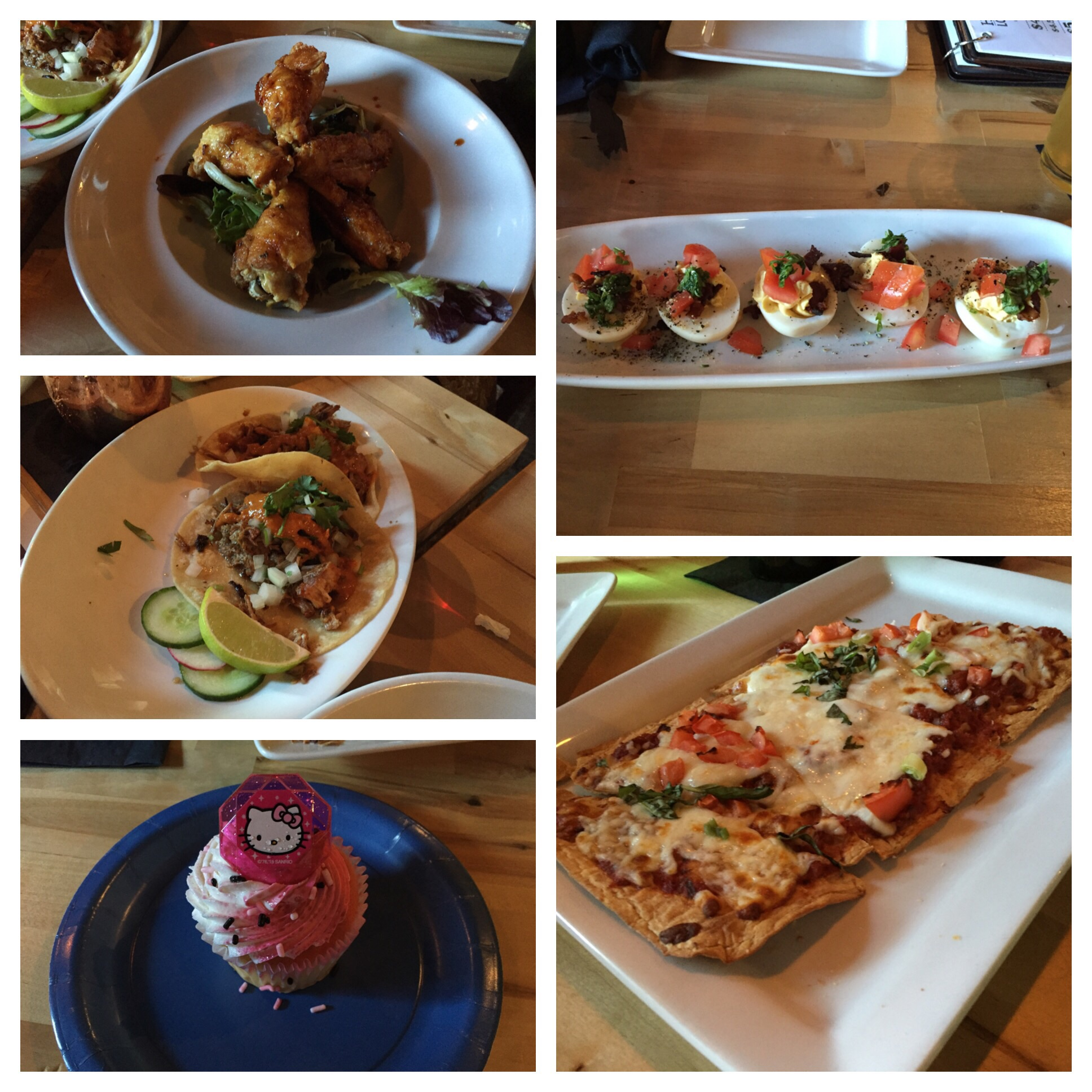 Wings, deviled eggs, margarita flatbread, birthday cupcakes and tacos! All excellent!