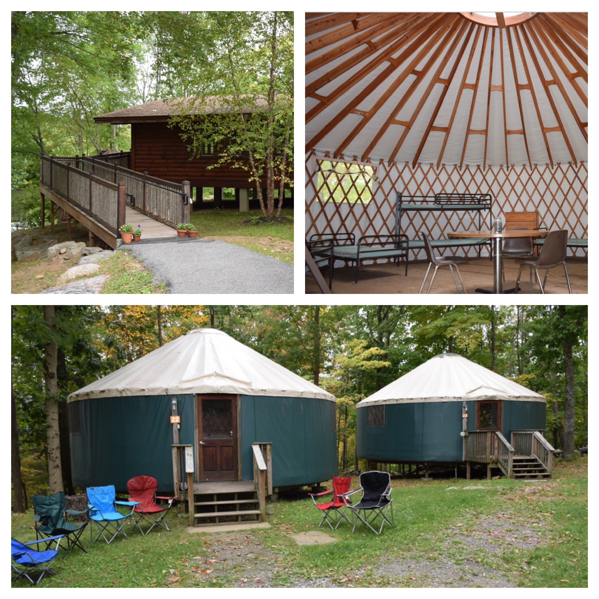 Kim had signs on the yurts like bars in Champaign - Kam and Dooleys - so cute! And that's our dining hall in the top left corner.