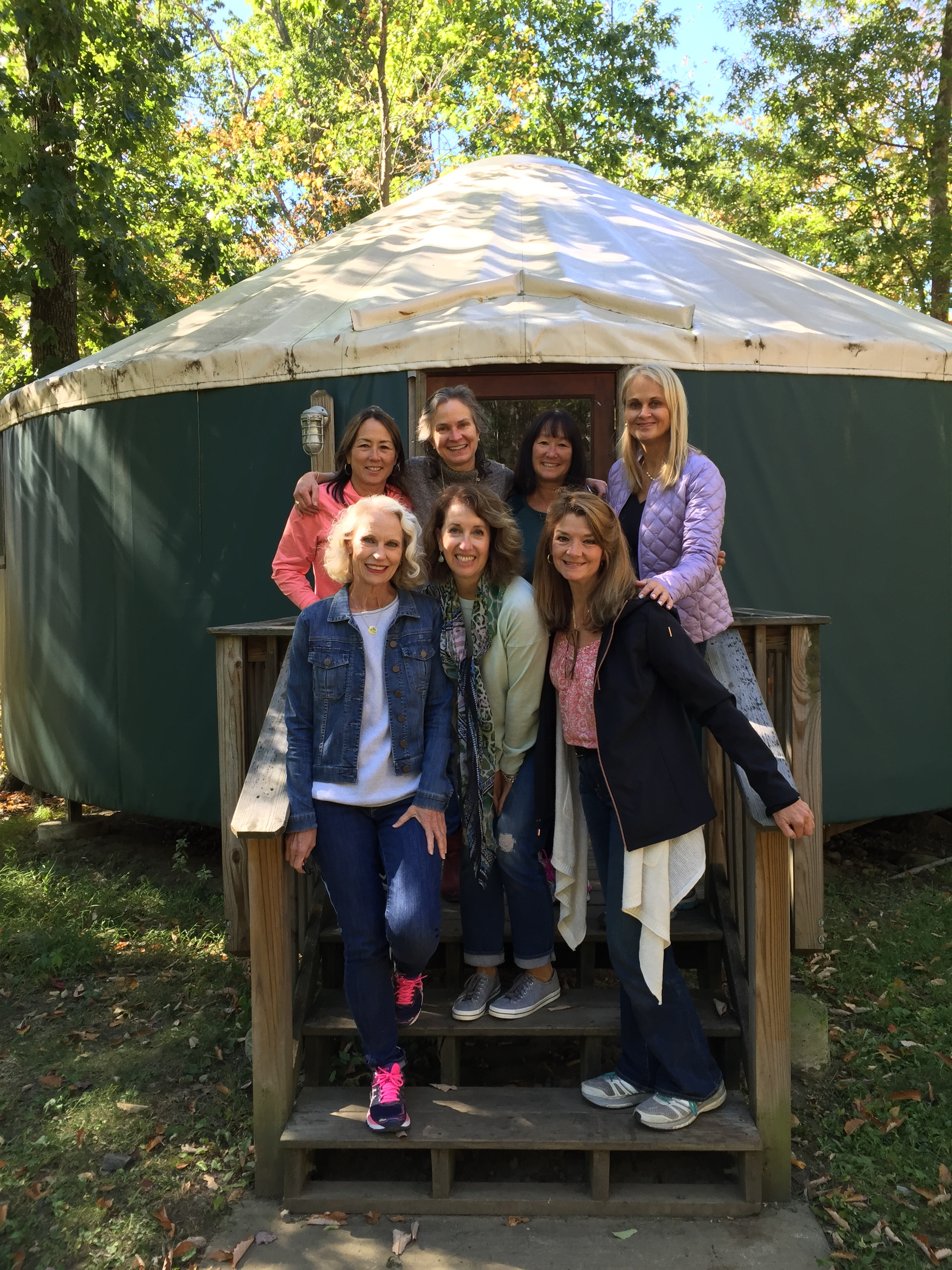 My great yurt mates!!! Back row - Nancy W., Nancy H., Bette, Linda. Front - me, Cindy and Marysue.