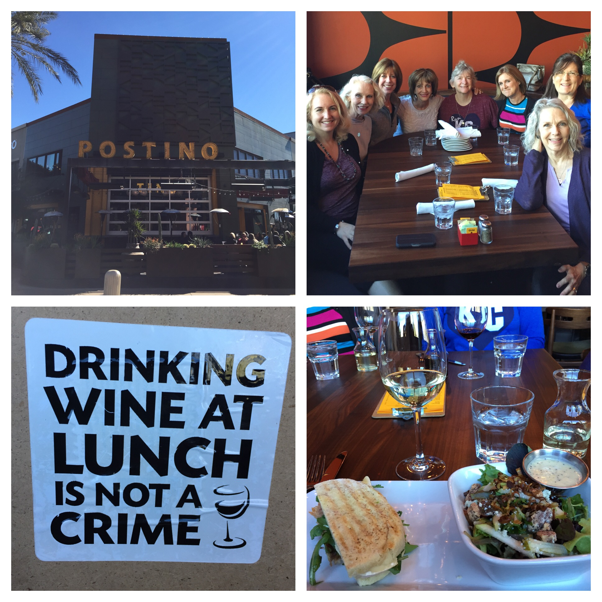 Kristen's sister Wendie who lives in Scottsdale joined us for a fun lunch - with wine of course! I had a delicious salad and half a panini. That was the lunch of choice for most - or salad and soup. I love their sign - TRUE!!!
