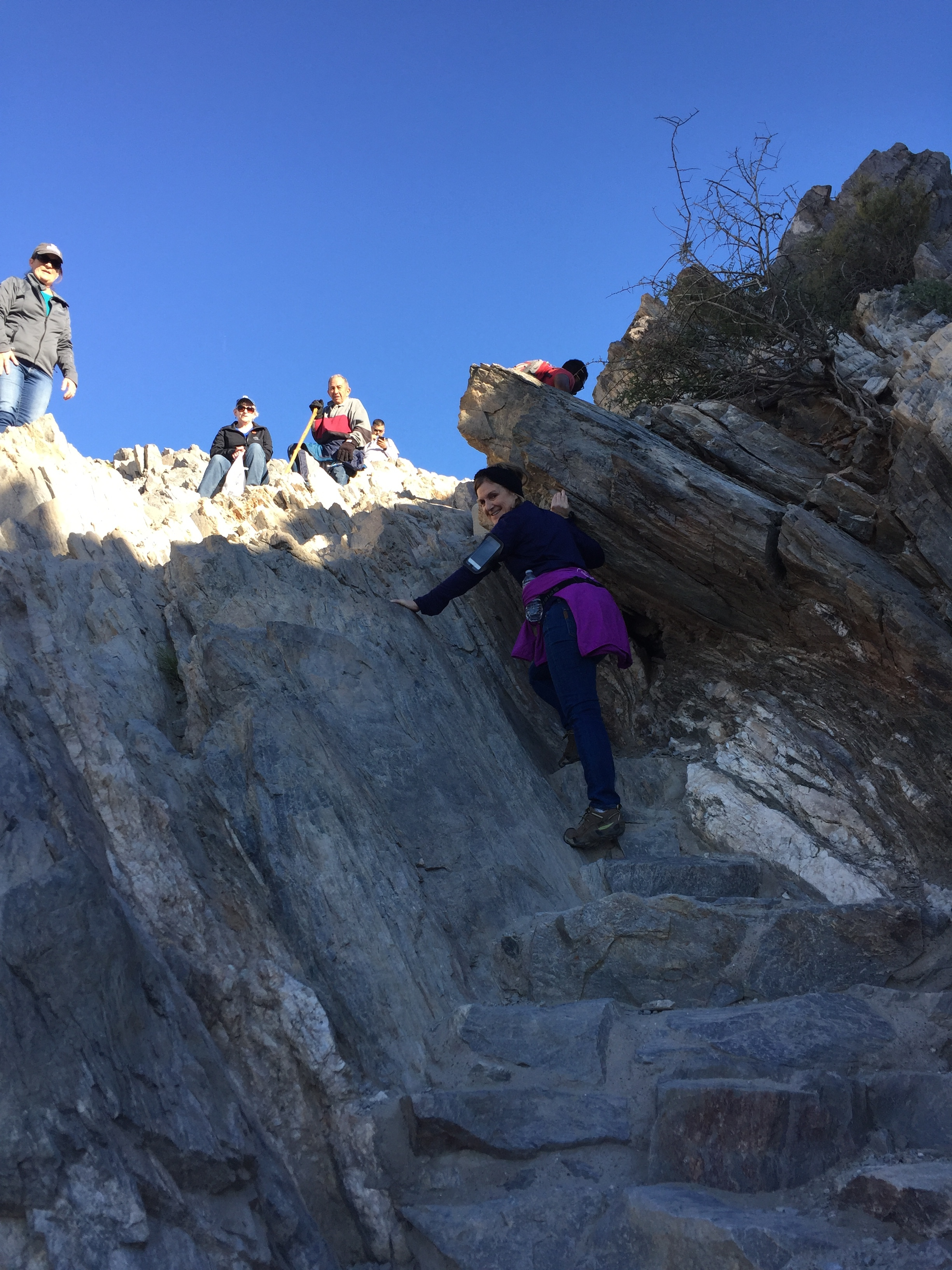 Cheryl climbing the last leg to the top!
