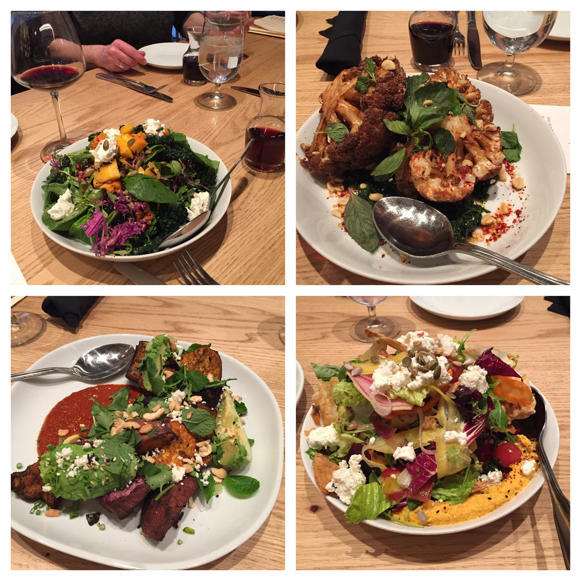 Top left and clockwise: Roasted Butternut Squash, Fall Greens, Wild Rice, Pomegranate, Pumpkin Seeds and Goat Cheese. Cauliflower with Kale Pesto. Carrot Fattoush, Greens, Carrot Hummus, Crispy Pita and Feta. Grilled Sweet Potato, Avacado, Cashews and Feta. All amazing!