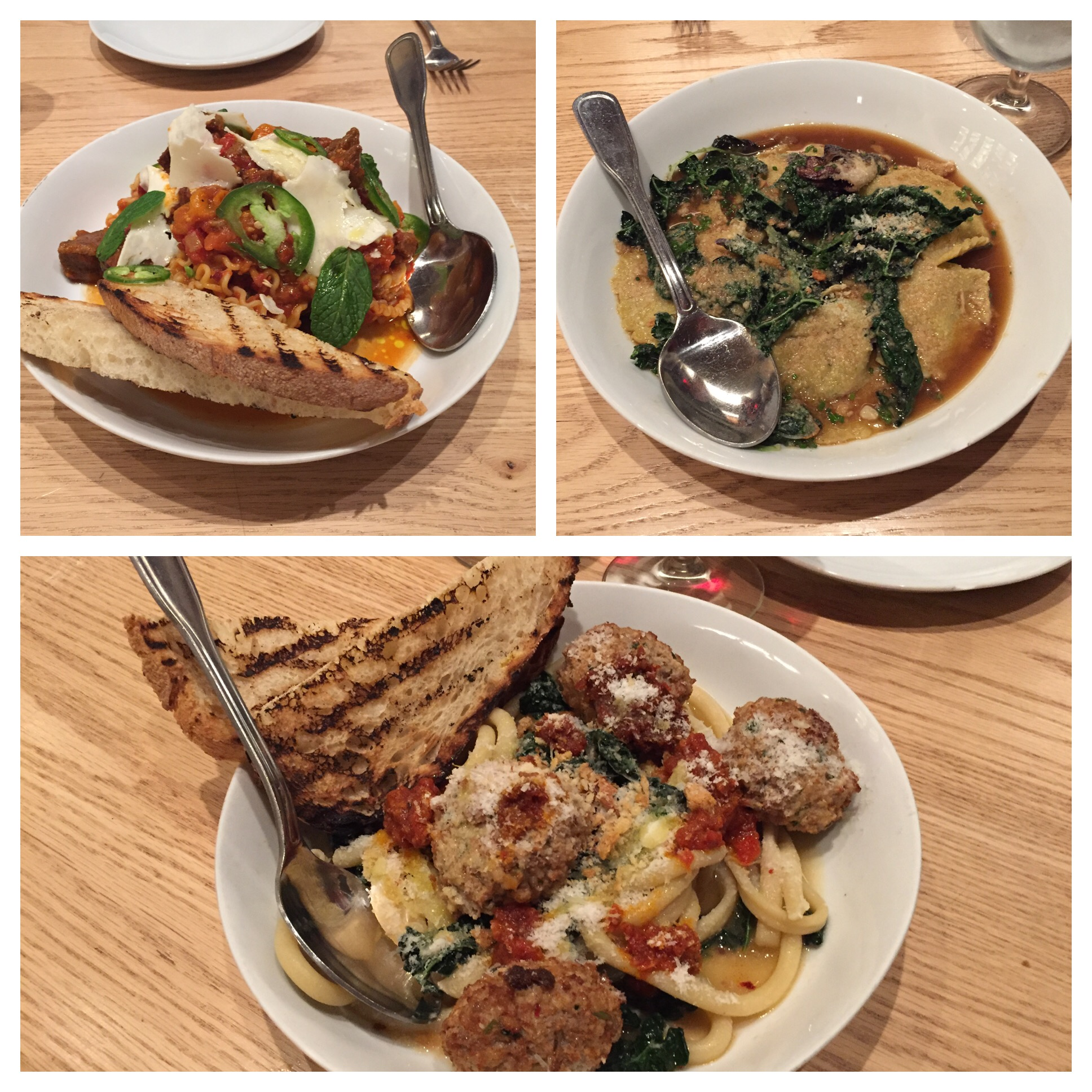 Reginette Pasta with Curried Beef Ragu, Smoked Beef Raviolis and Bucatini Pasta with Pork and Ricotta Meatballs.