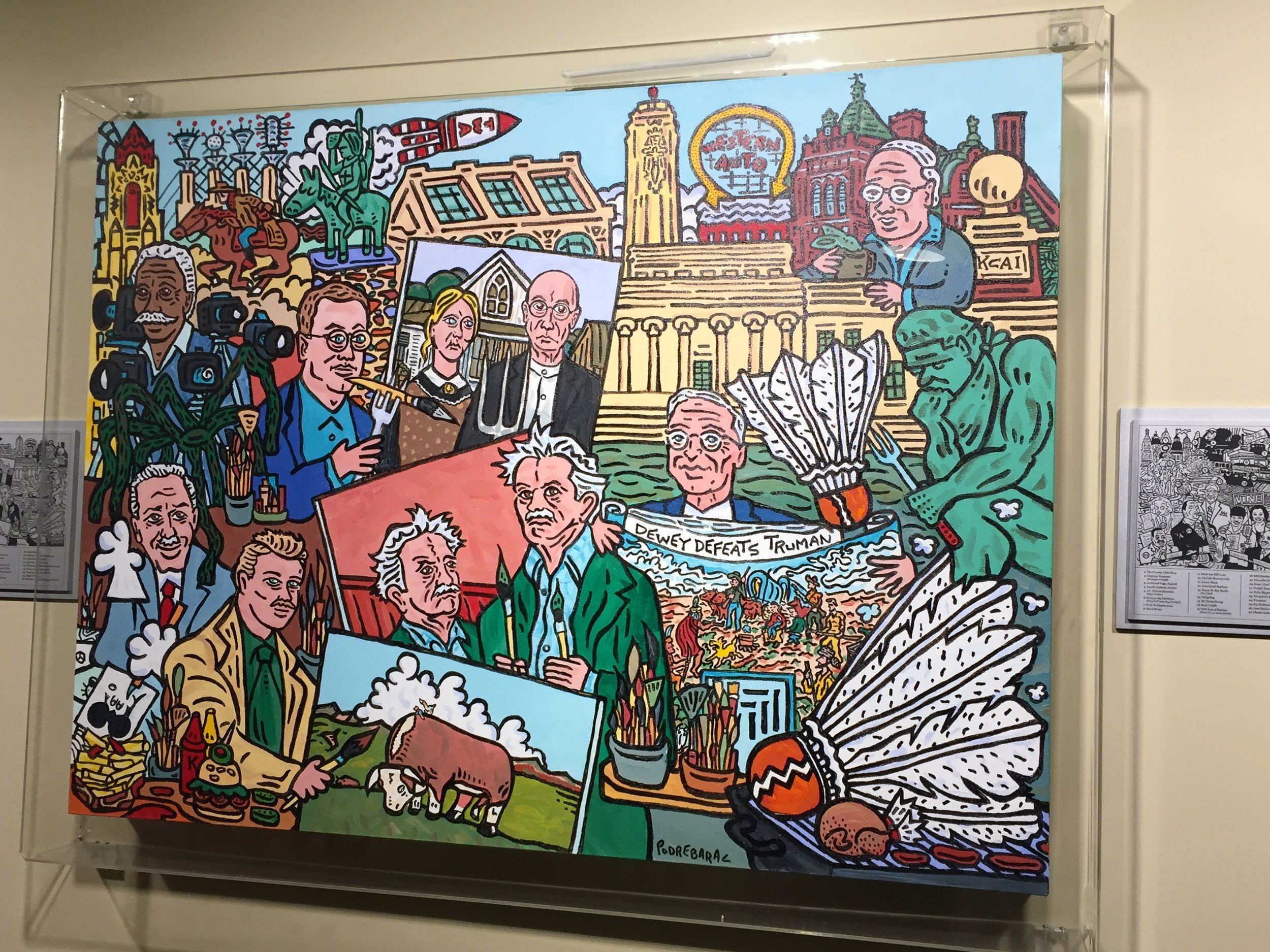 Charlie Podrebarac  Panorama of the Plains, 2013  This is one of 3 large paintings that are filled with historical figures, artists and landmarks of KC - including my building!!