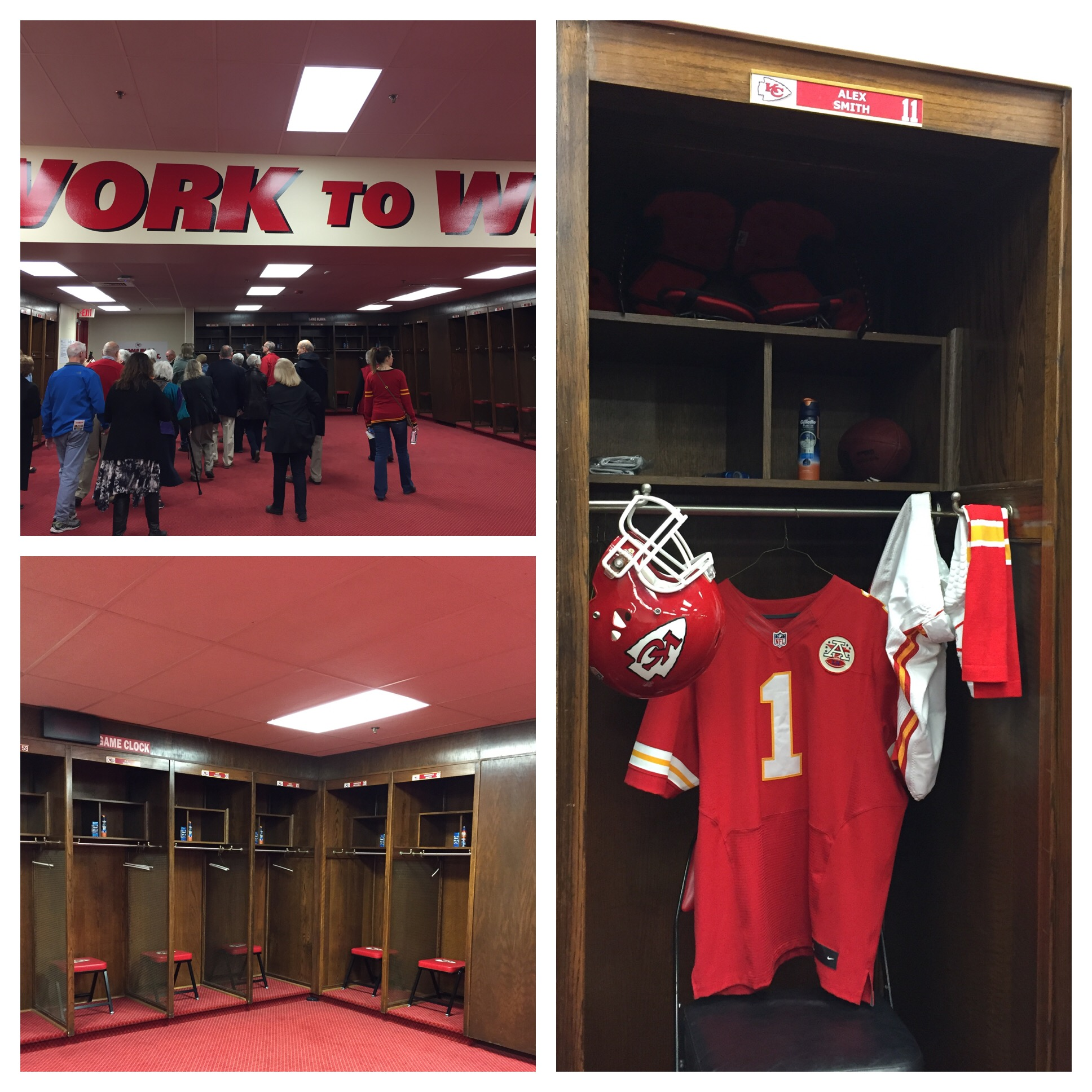 The locker room was not super impressive and looked like it hadn't been included in the renovation from 2010 - but the guide did say that since they have build a brand new practice facility the only time the players are ever in the locker room is the day of the game. Something tells me the locker room in the new facility is loaded with great amenities - and it was still cool to see.