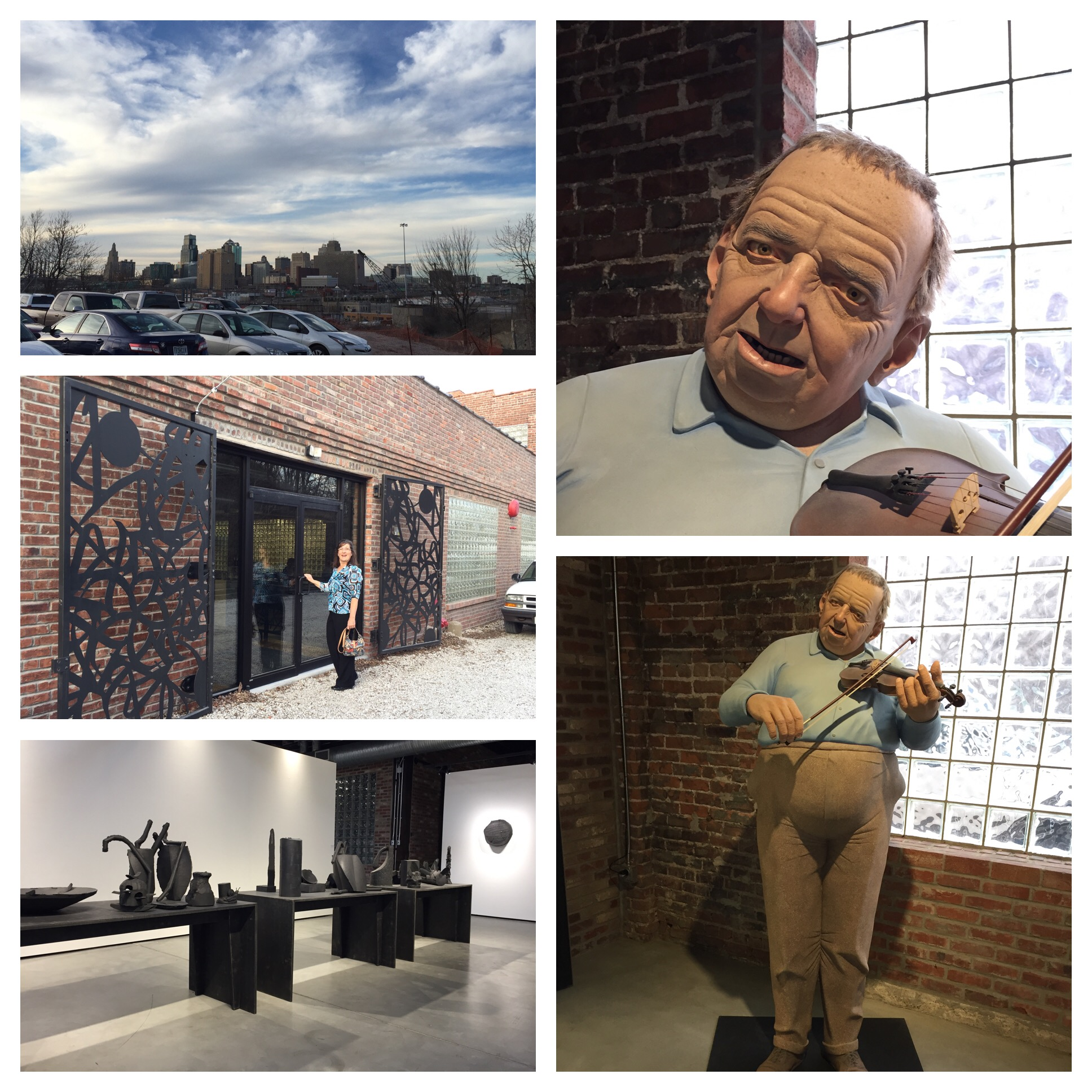 Top left - view from the studio of downtown from the parking lot. Middle - Deidre entering the studio through the awesome iron gates. Bottom - some of the items on display and on the right is this awesome statue that greets you inside - the face is so lifelike!