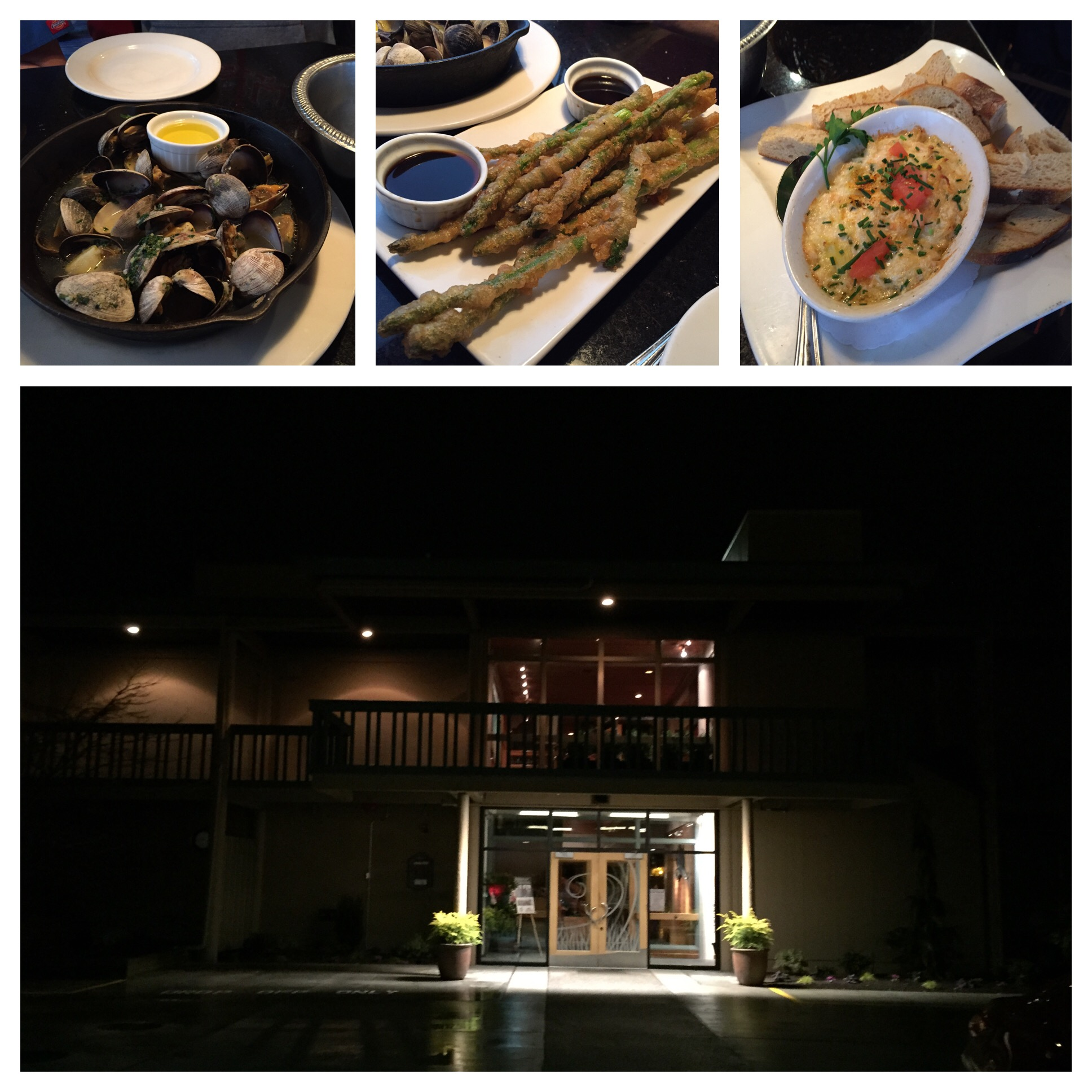 Tons of clams, tempura asparagus and artichoke dip - all delicious!