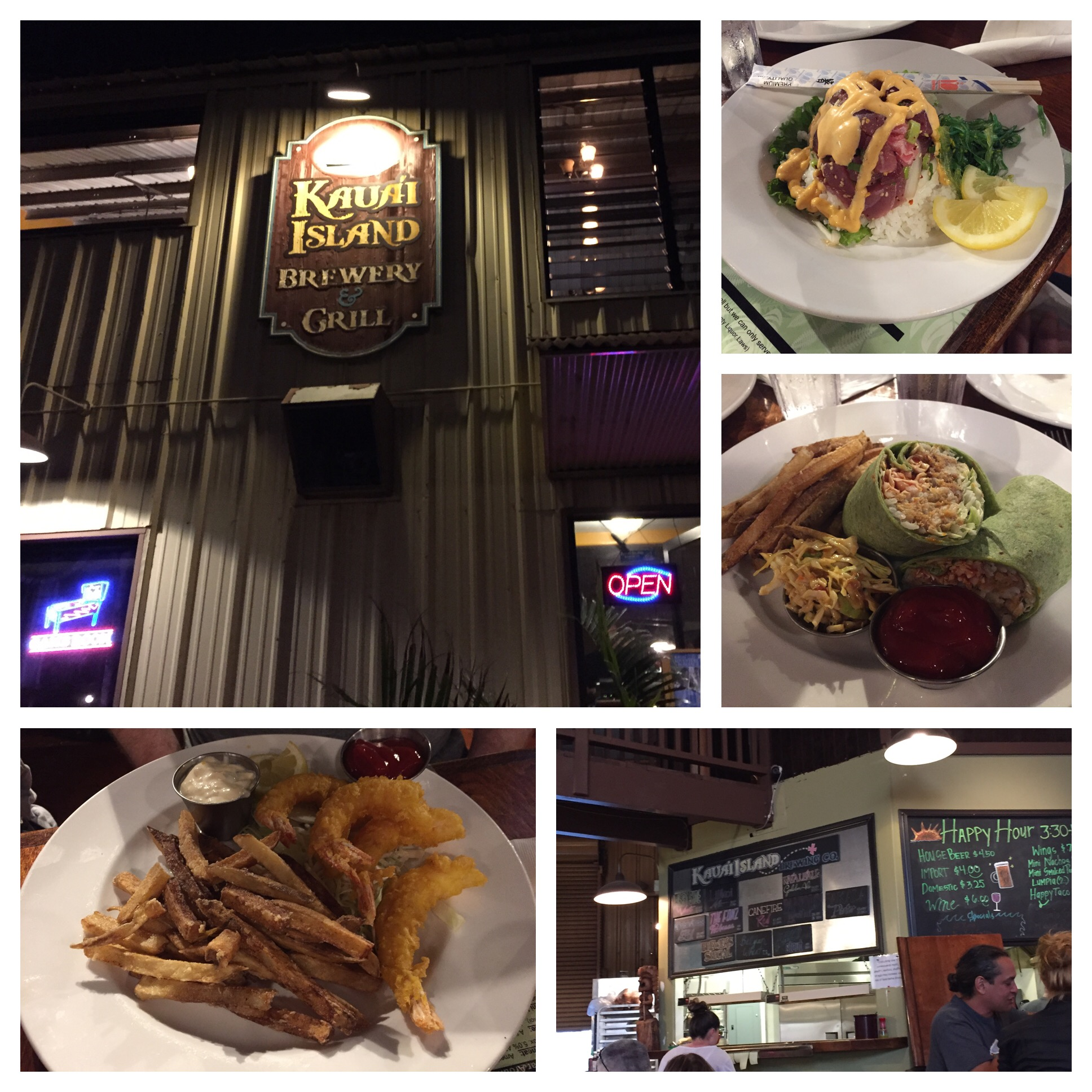 Ahi Tuna top right, Pulled Pork Wrap with yummy fries and interesting coleslaw in the middle, Shrimp and fries bottom. Lots of pork served on the island. I know there are wild pigs so maybe that's why??