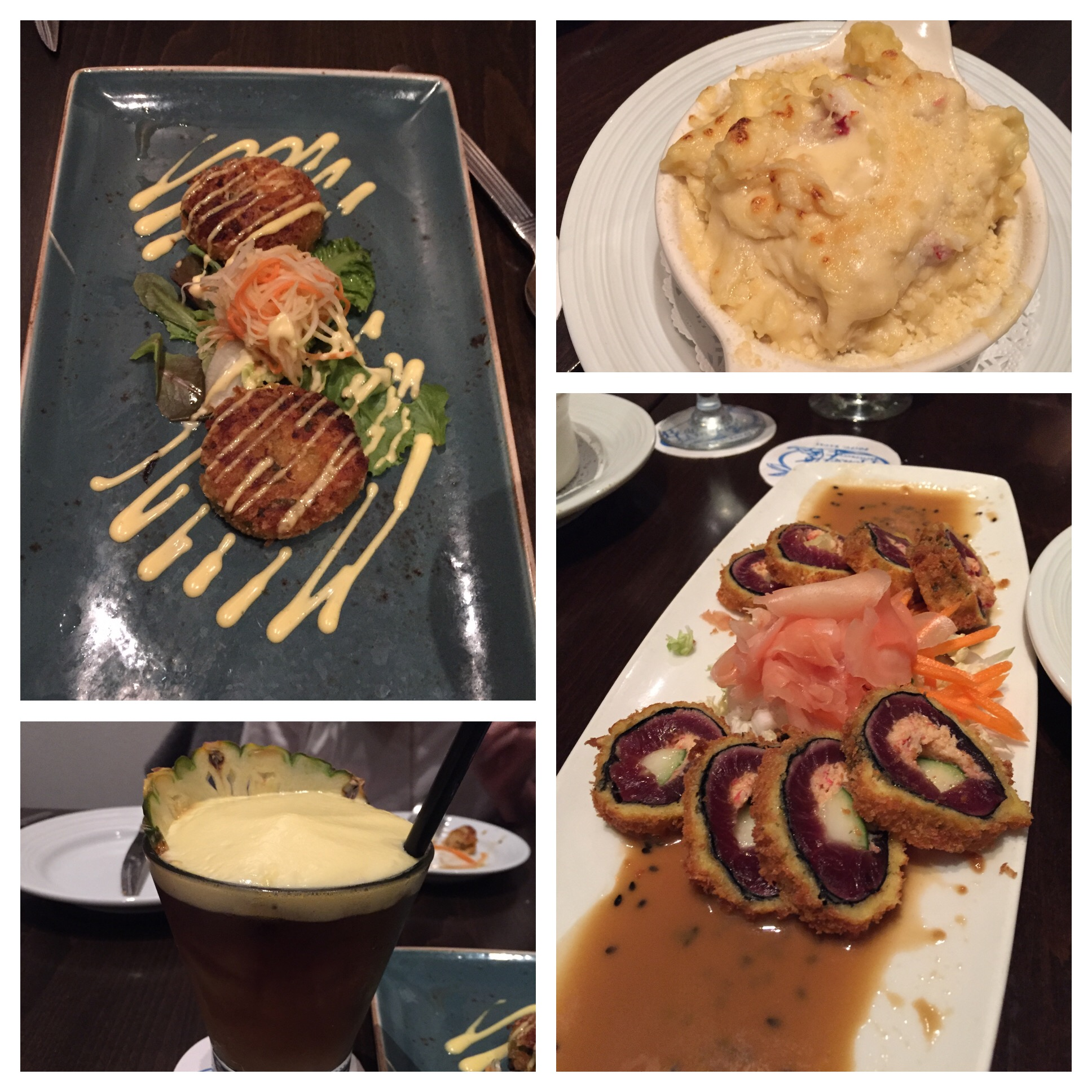 Appetizers - Thai Coconut Crab Cakes, Lobster Mac & Cheese, Crab Stuffed Ahi Roll and Anna's cool cocktail!