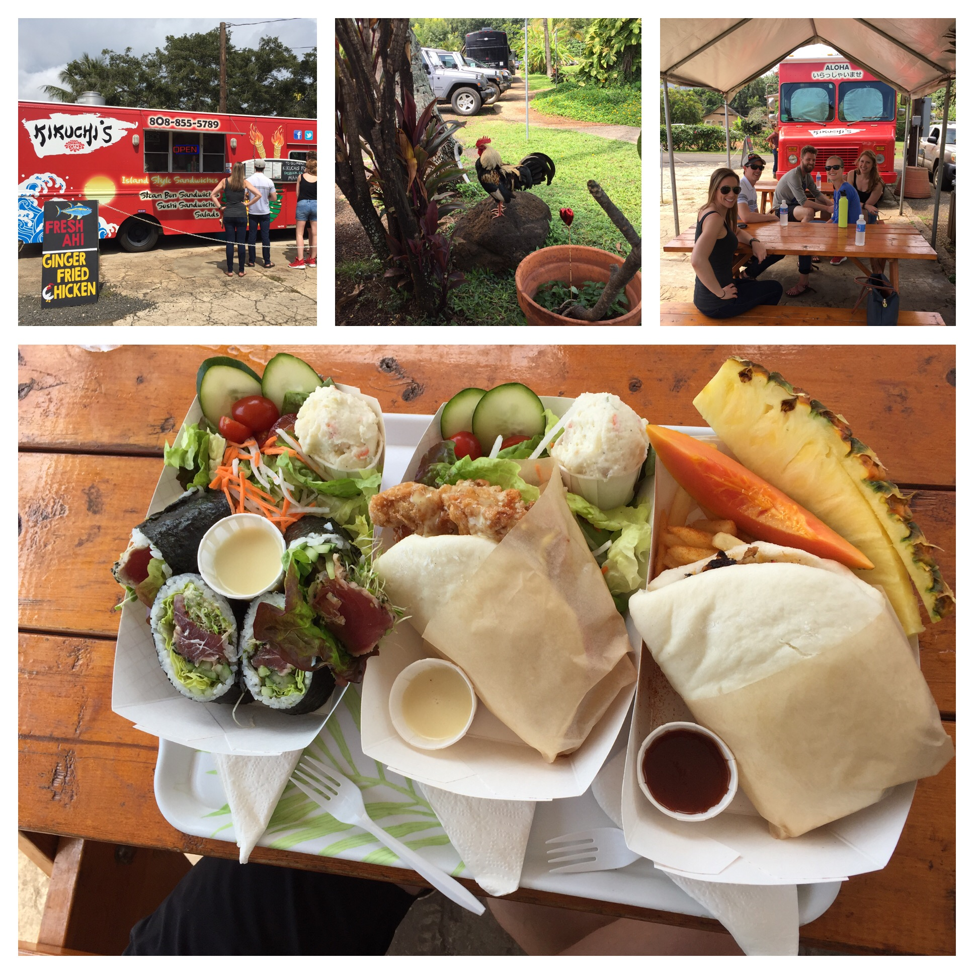 Steamed buns - one with Ginger Fried Chicken and the other with Pulled Pork. Also fresh Ahi Rolls. That tray is just what Tom and Anna ordered!!! And of course a friendly?? Rooster hanging around!