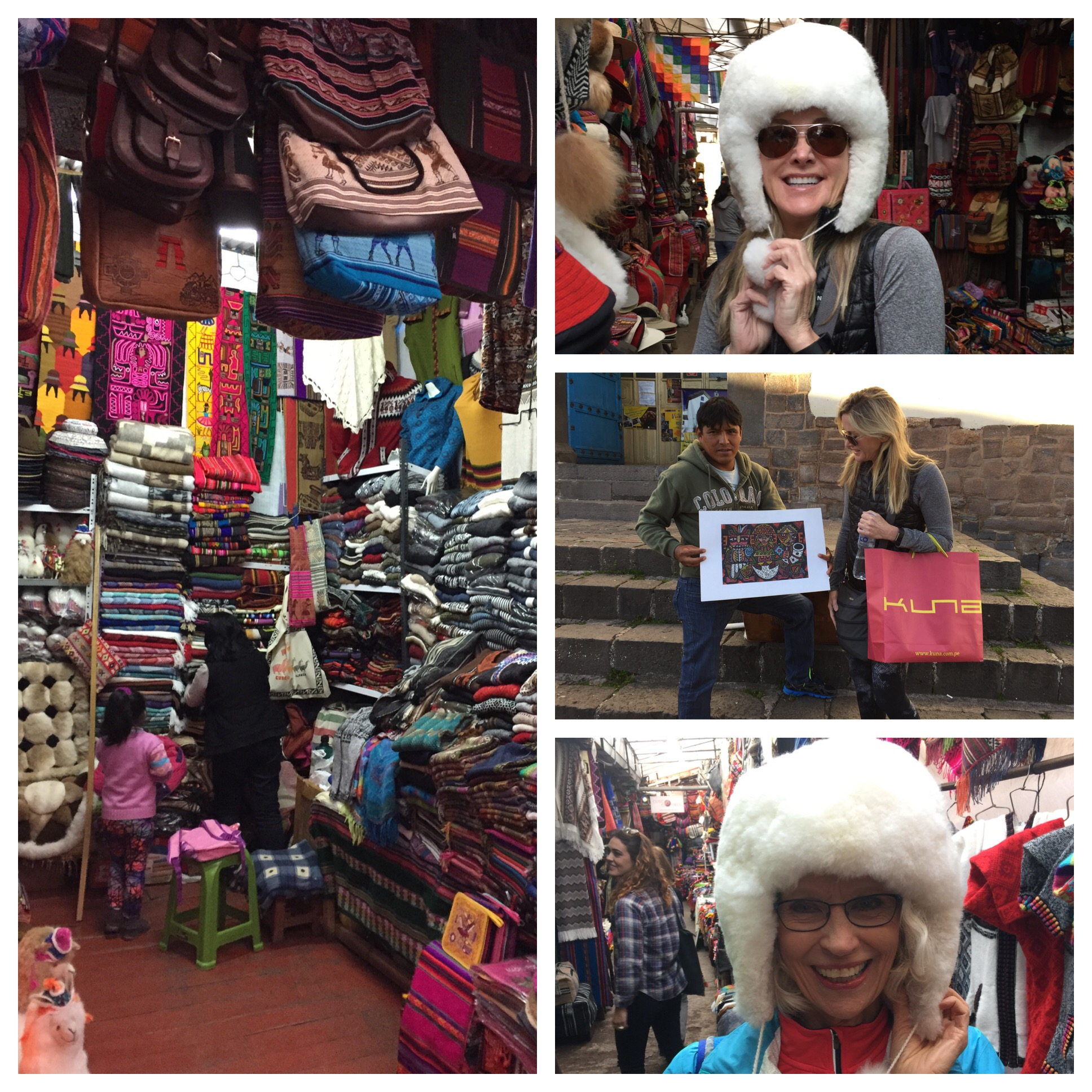 Alpaca hats to keep us warm!! And lots of artists on the street selling their paintings. There is a famous art school in Cusco that many of the artists attend.