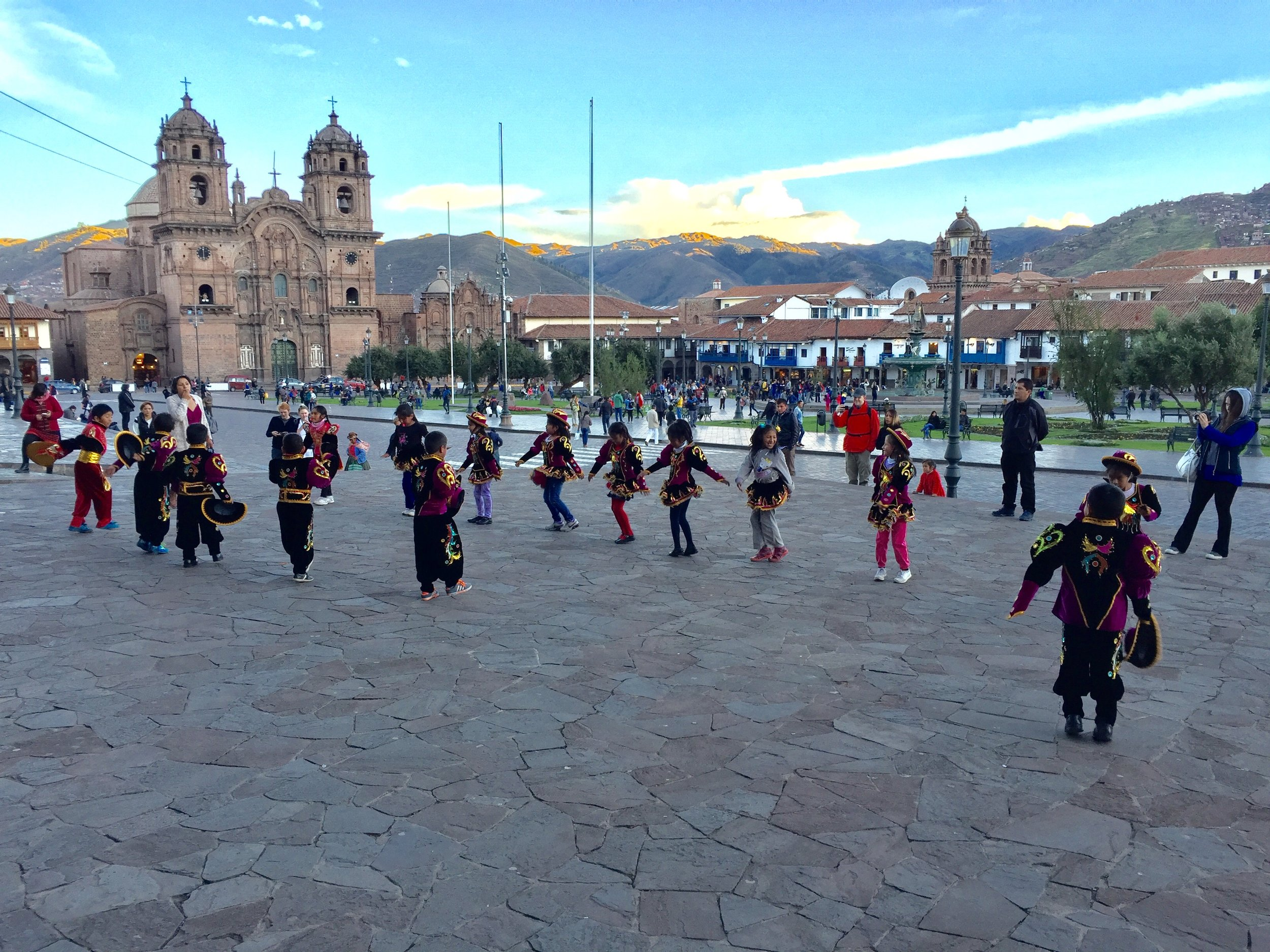 They were practicing the whole time we were eating dinner at Limo - what a gorgeous sunset on the mountains around Cusco!