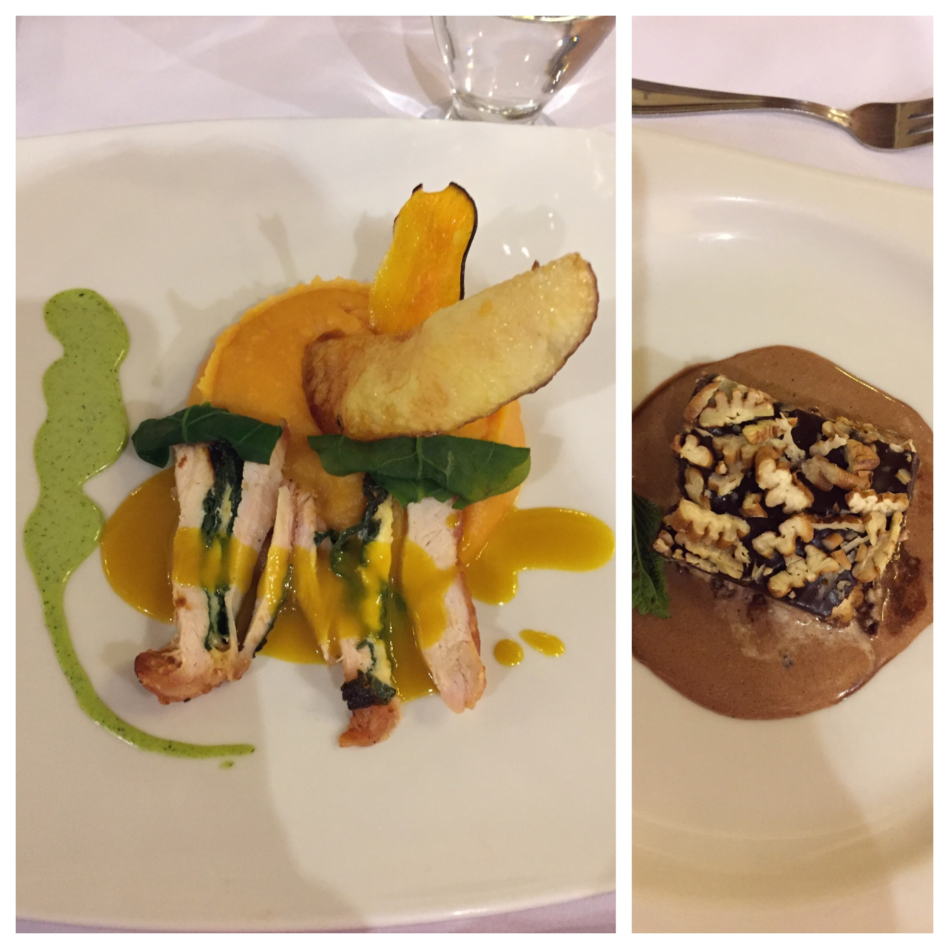 First course was a vegetable soup, 2nd course mashed sweet potato with orange and chicken breast with spinach stuffing. Dessert was chocolate tiramisu- all wonderful.