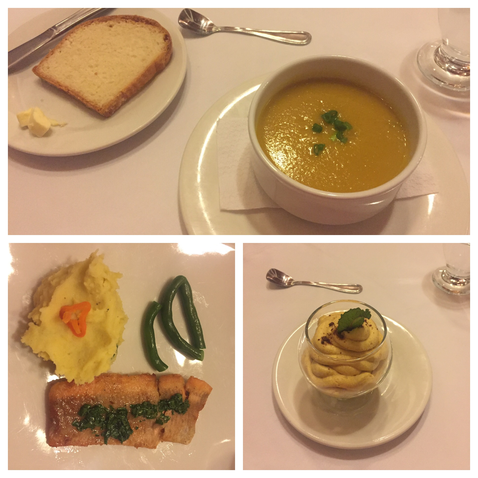 Pumpkin soup, trout with mashed potatoes and green beans, and lumpa mousse. Lumpa is some kind of fruit grown in Peru that I've never heard of but it was great!!
