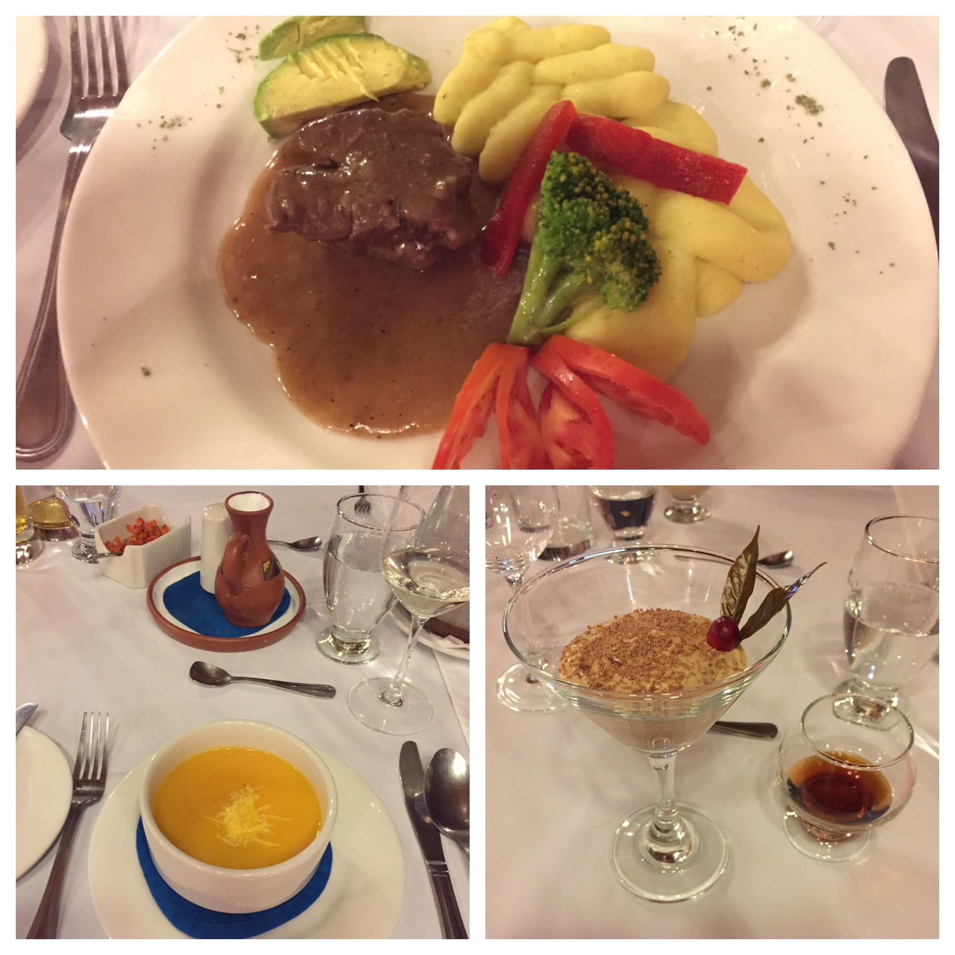 Carrot soup, Beef tenderloin with mashed potatoes and fresh avocado. Coffee mousse for dessert with coffee liqueur.