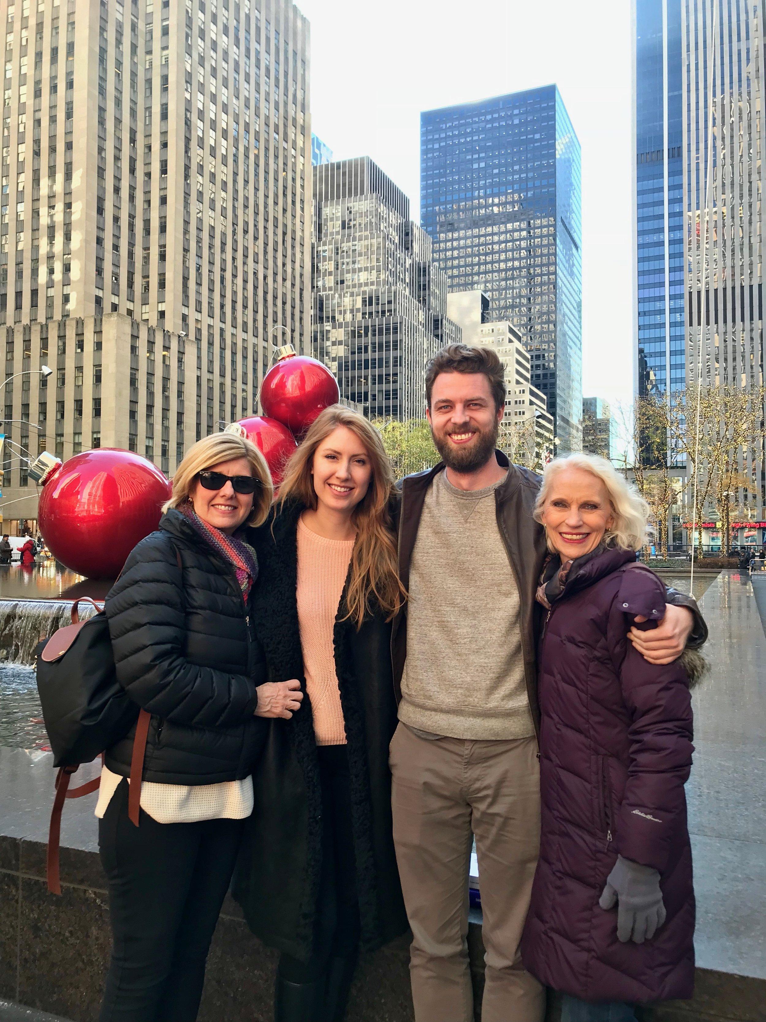 4 happy parade goers at Rockefeller Center!