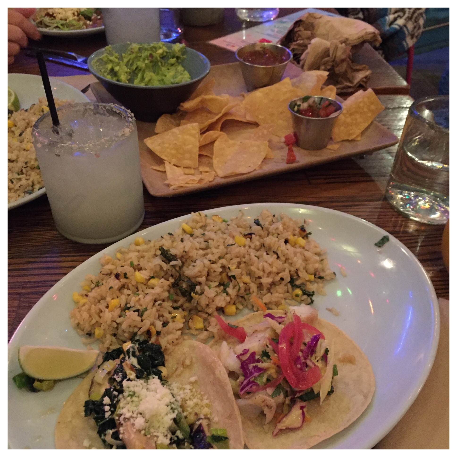 Margarita's for Cheryl and Deidre and the best Sangria I've ever had!! That's a grilled fish taco, a vegetable taco and rice.