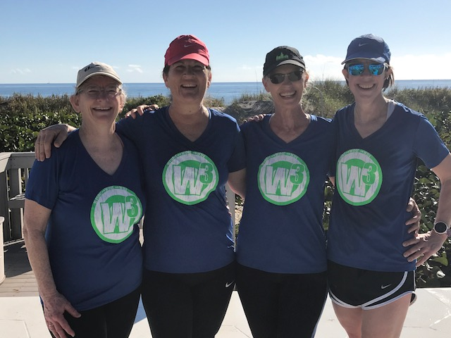 Wearing our Team W3 shirts for good luck!! Harriett, Deidre, me and Kristen. Lucky to call these ladies friends and fellow runners.