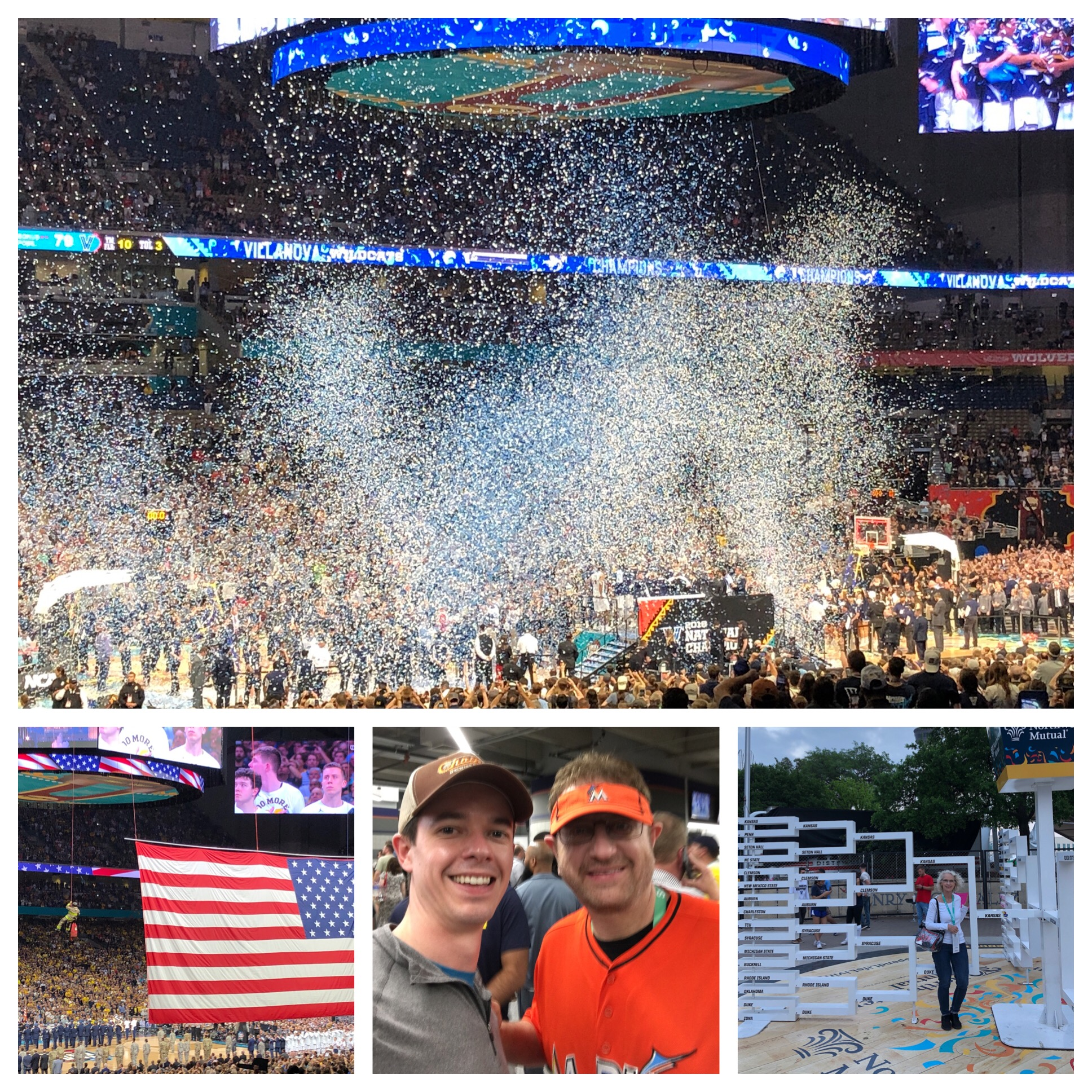 Lots of confetti at the finish! Matt's favorite moment was meeting Marlins Man! Celebrity sighting! Me standing in the the physical bracket surrounded by Kansas.