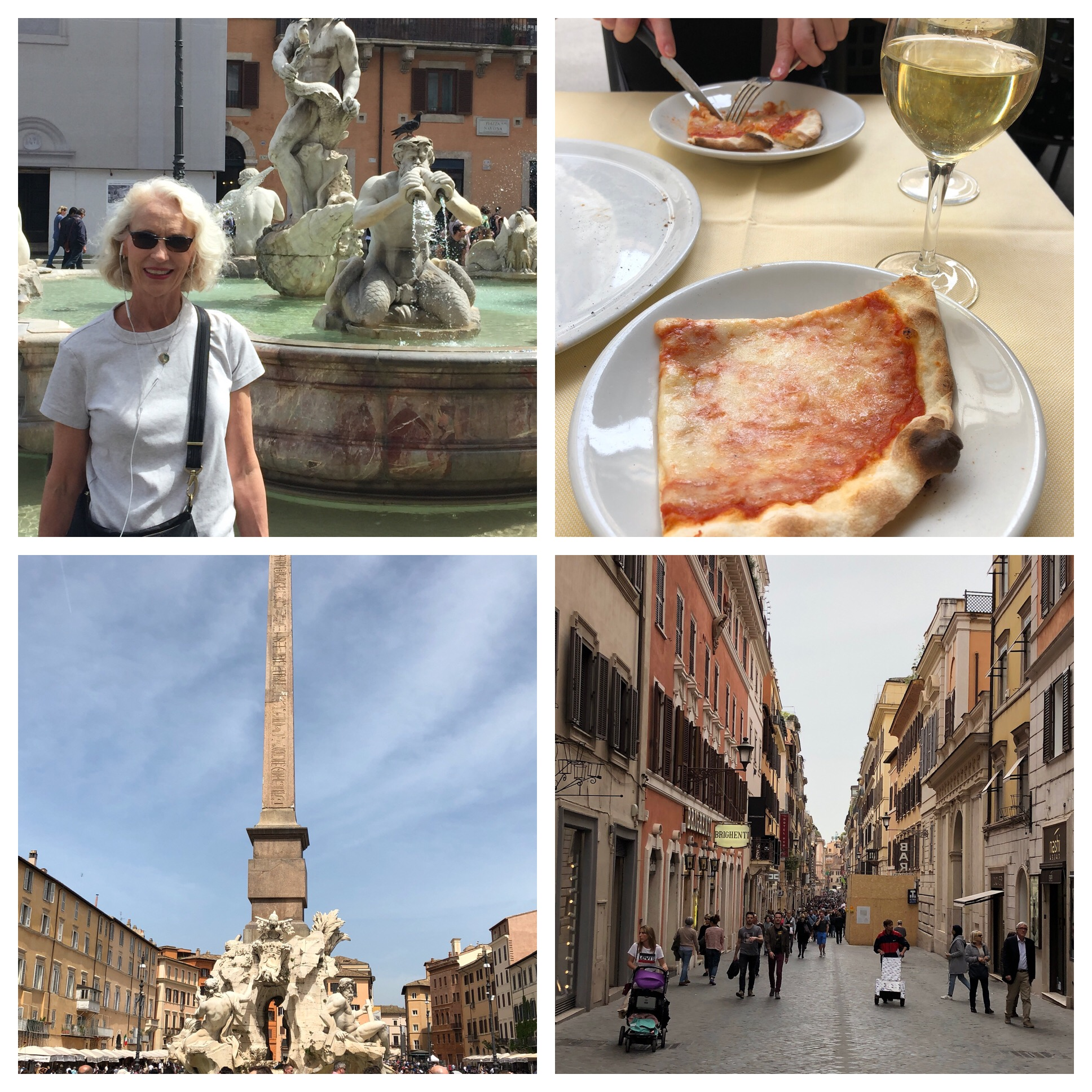 Me at one of the beautiful fountains in the Piazza Navona, our pizza and wine lunch along the way, the Four Rivers Fountain in Piazza Navona and a random street in Rome.