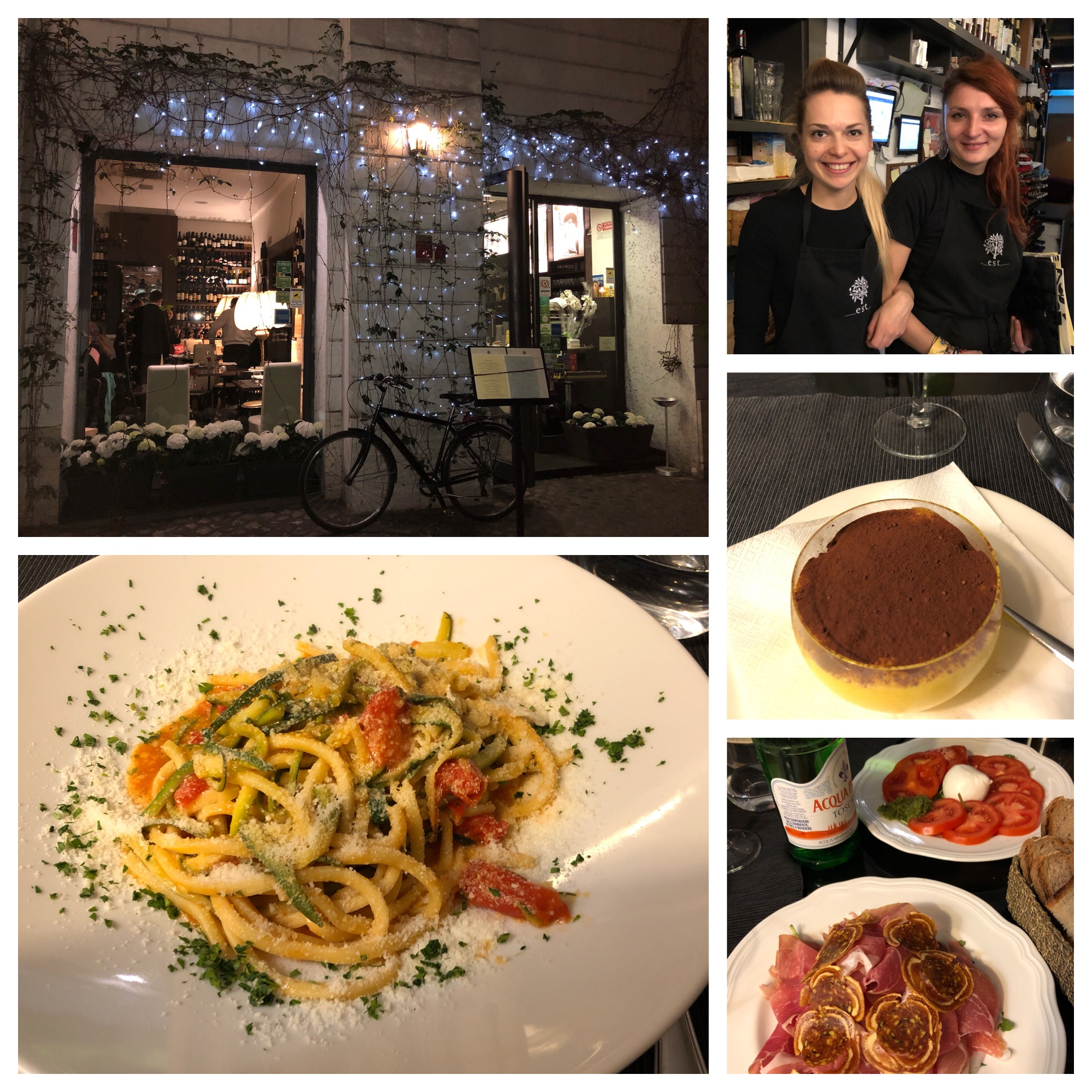 The manager is the woman on the left, appetizers were prosciutto with fig and caprese salad, a pasta entree with fresh tomato and zucchini and tiramisu. All fantastic. I'm eating pasta everyday. Glad I read that recent article that said studies show people who eat pasta lose more weight than people who don't. Relief!