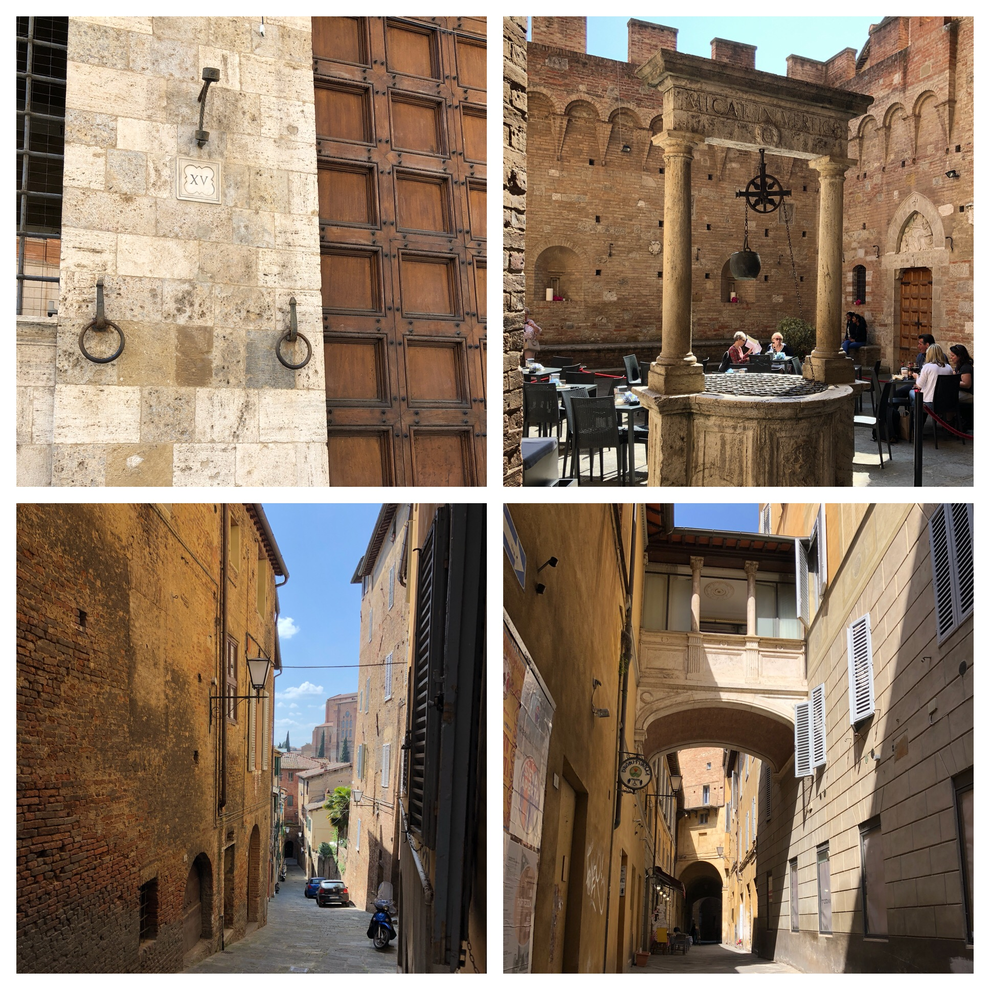 In the picture on the top left the round hooks are to tie up horses. Iron piece above them is for flags. They love to fly flags in Siena and each neighborhood (there are 17) have their own flags and symbol.