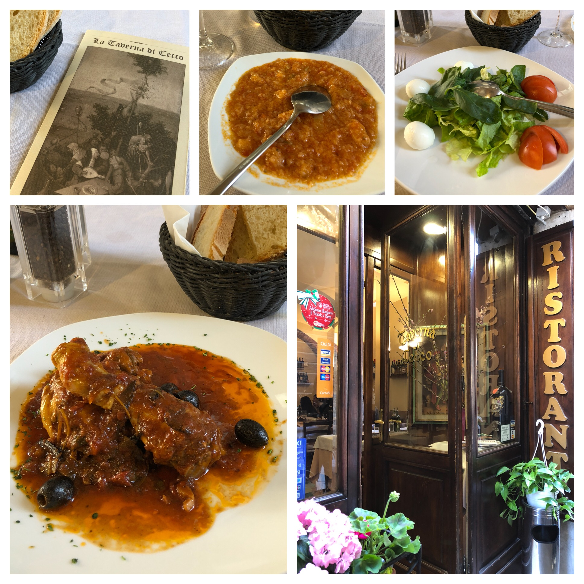 Middle pic is of a complimentary soup made from tomatoes. Caprese salad and chicken cacciatore. And a nice glass of wine! Yumm!