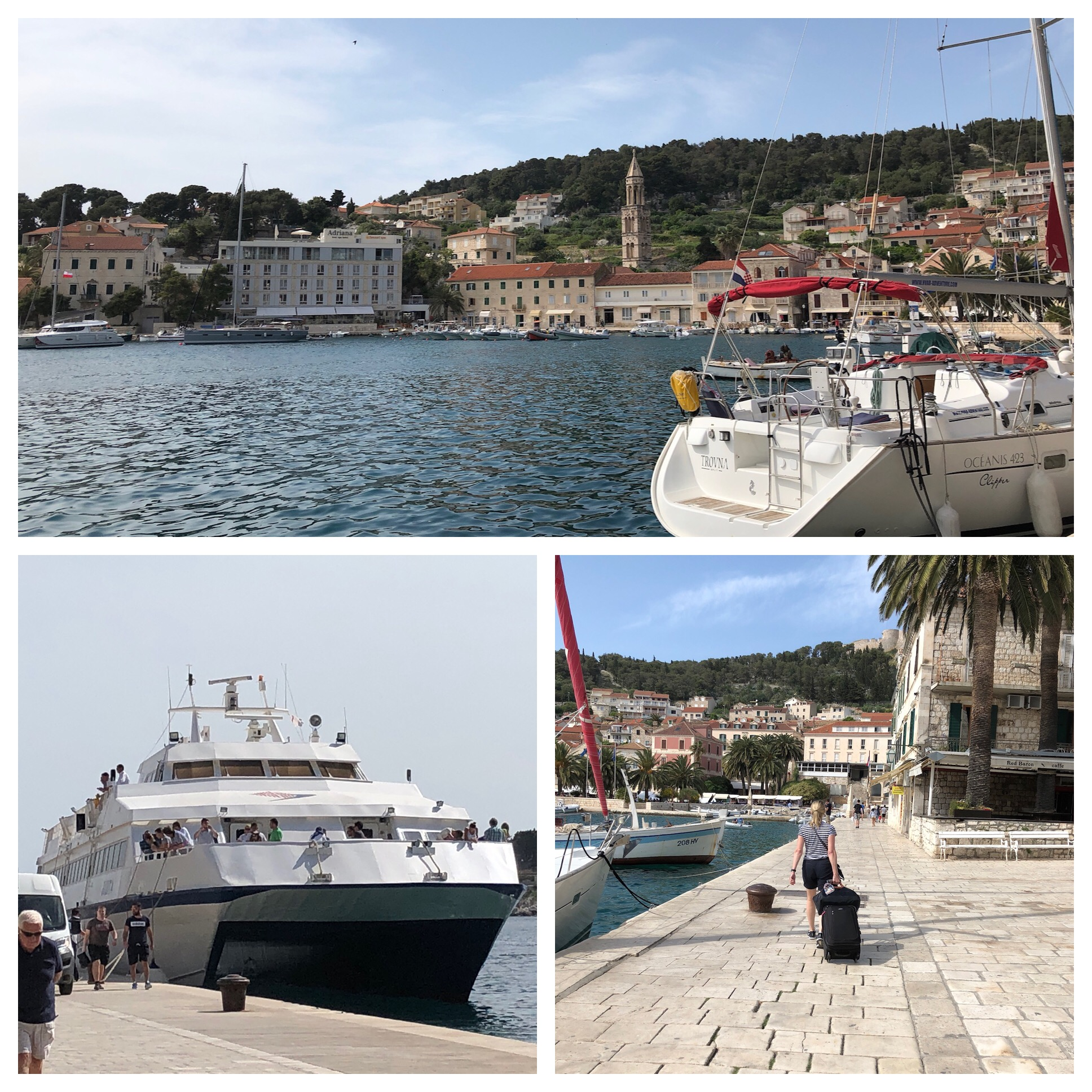 Our boat and first look at the harbor in Hvar. That's Julie lower right hauling her stuff. Remember we're traveling pretty light. Just a carry on and a personal item. Good thing because you are on your own with luggage.