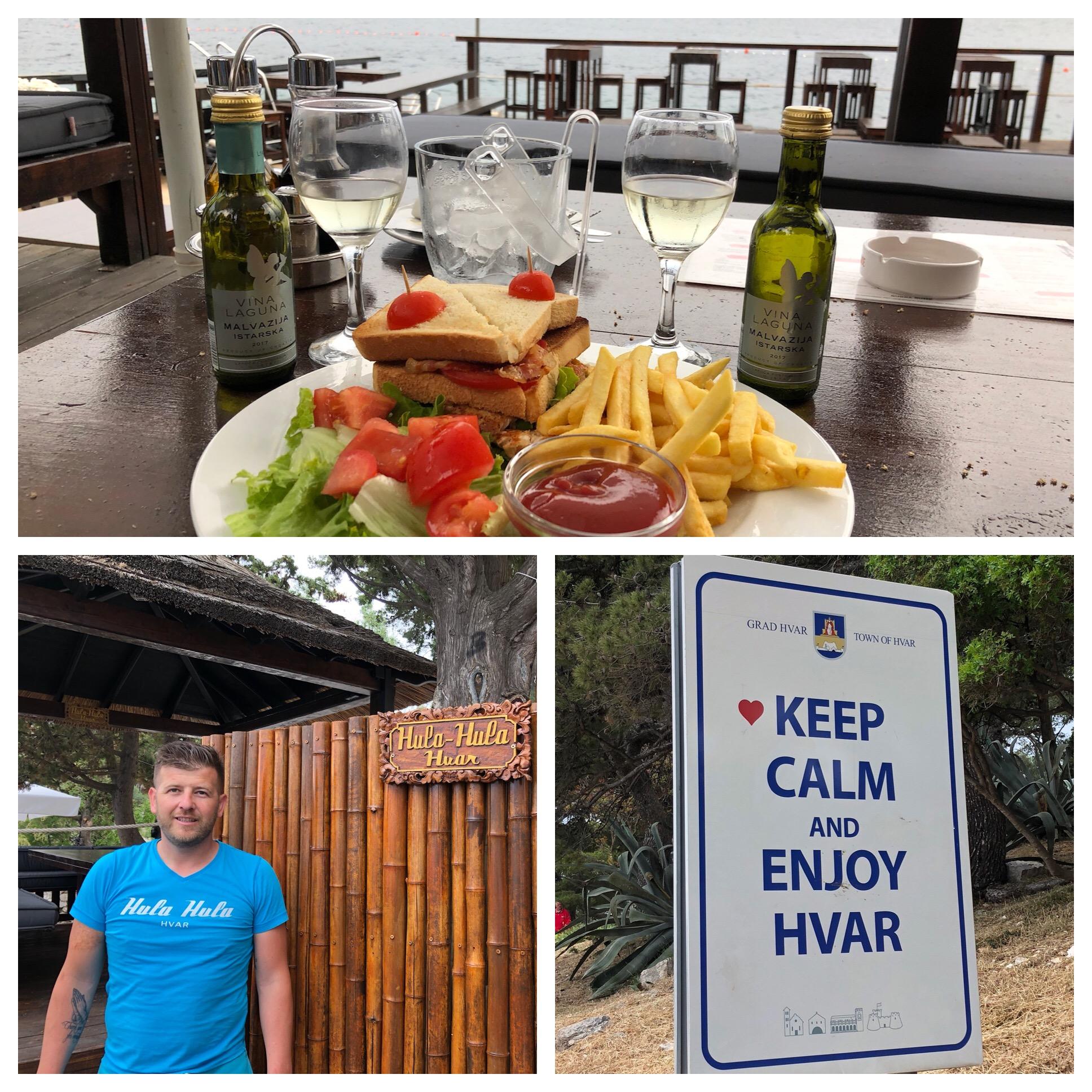 Our super nice waiter and love the Hvar sign!
