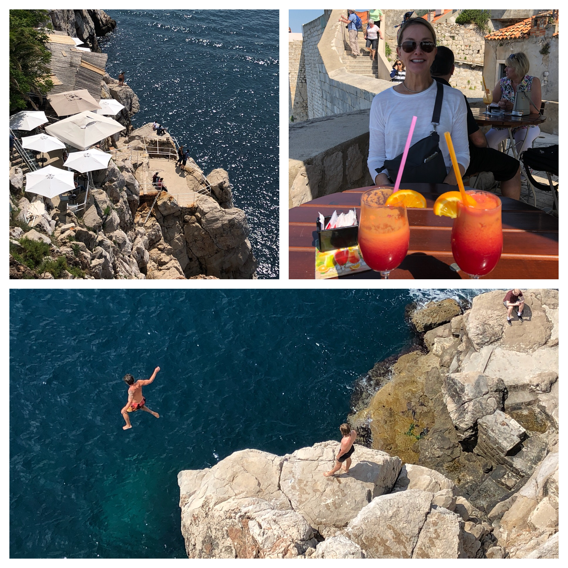 Top left is Buza II and people jump off the rocks right in front of it into the sea - and we saw them!