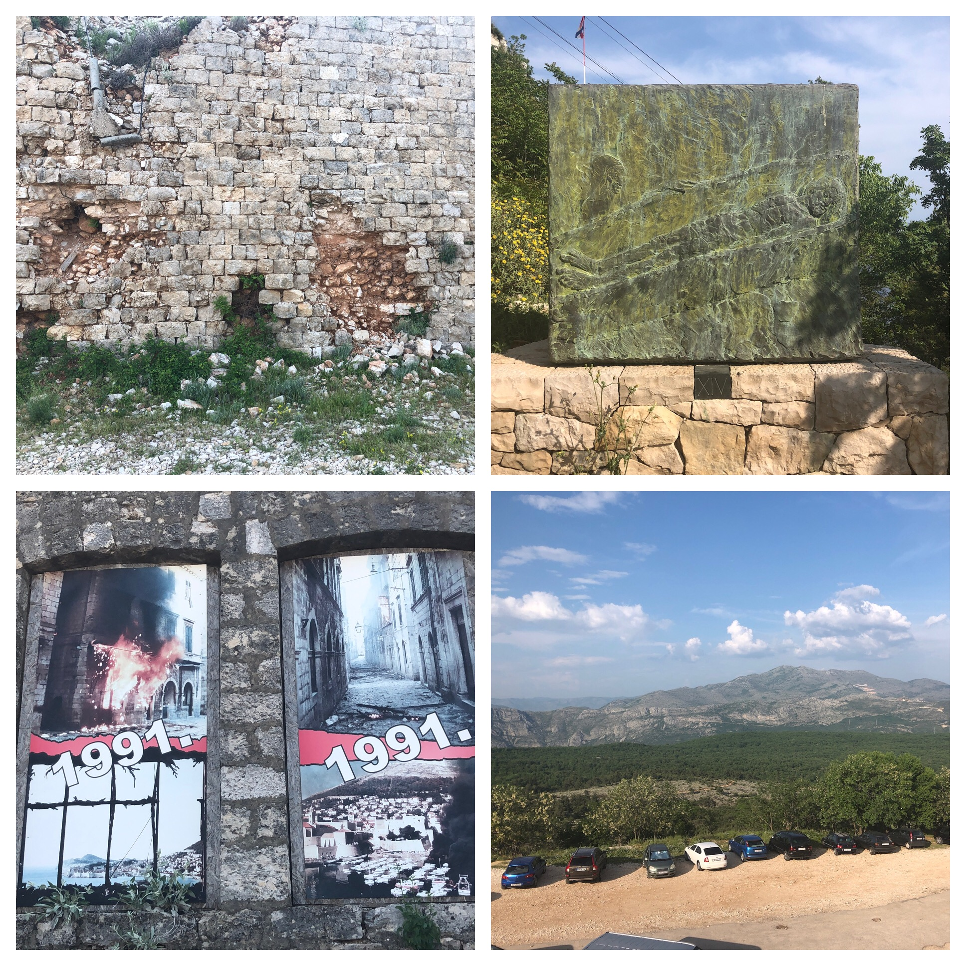 Damage from the bombings on the fortress. At every turn on the way up the switchbacks are beautiful castings of the Stations of the Cross. Bottom right is the view of the mountains and valley behind the fortress.