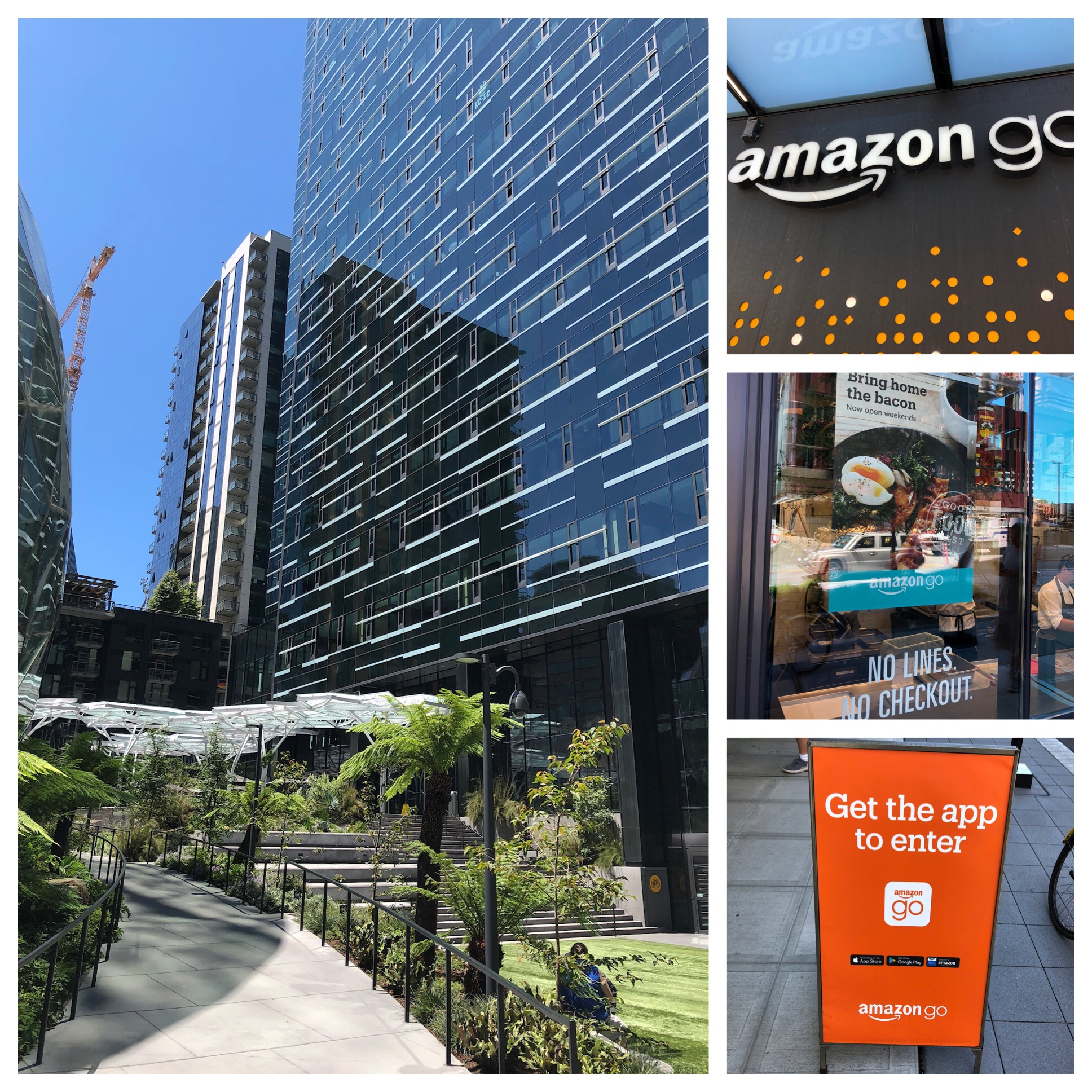 Main entrance to Amazon Headquarters and Amazon Go grocery.