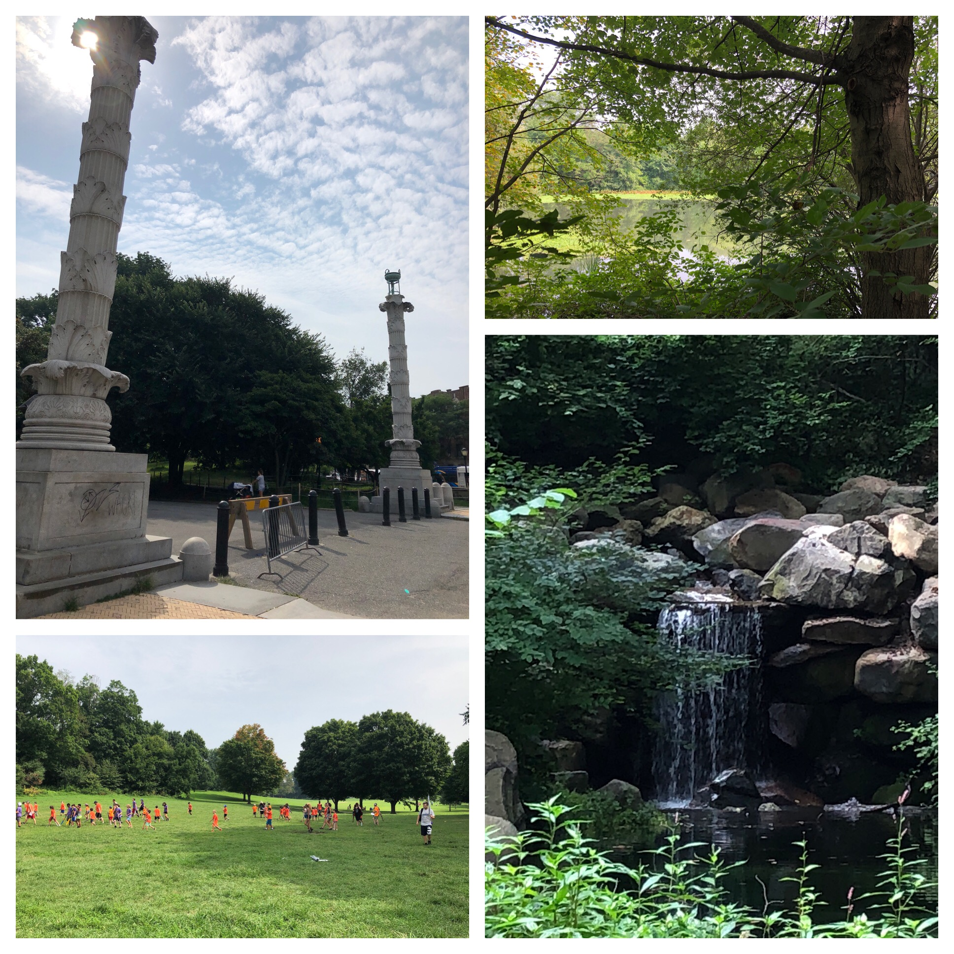 Prospect Park - a lake and waterfalls. Lots of kids playing too.