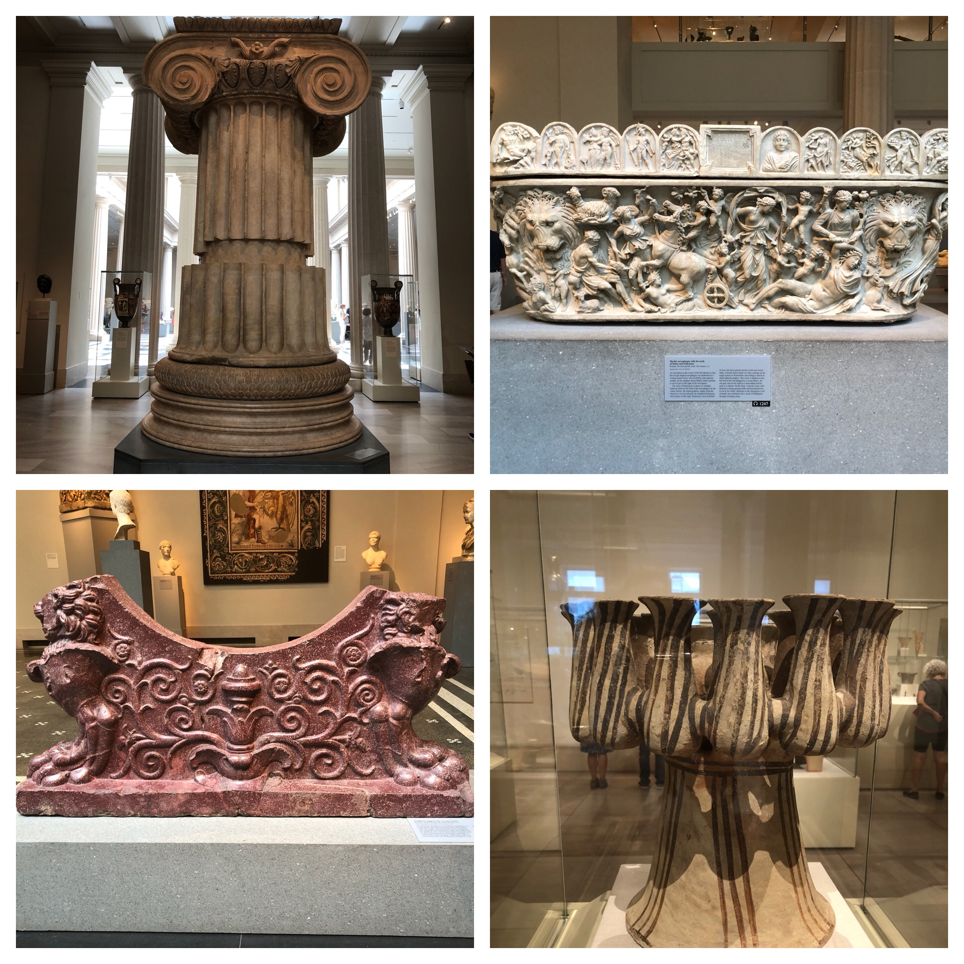 Bottom left is made from very hard stone called Porphyry which is very rare and considered royal. This was a support for a water basin.