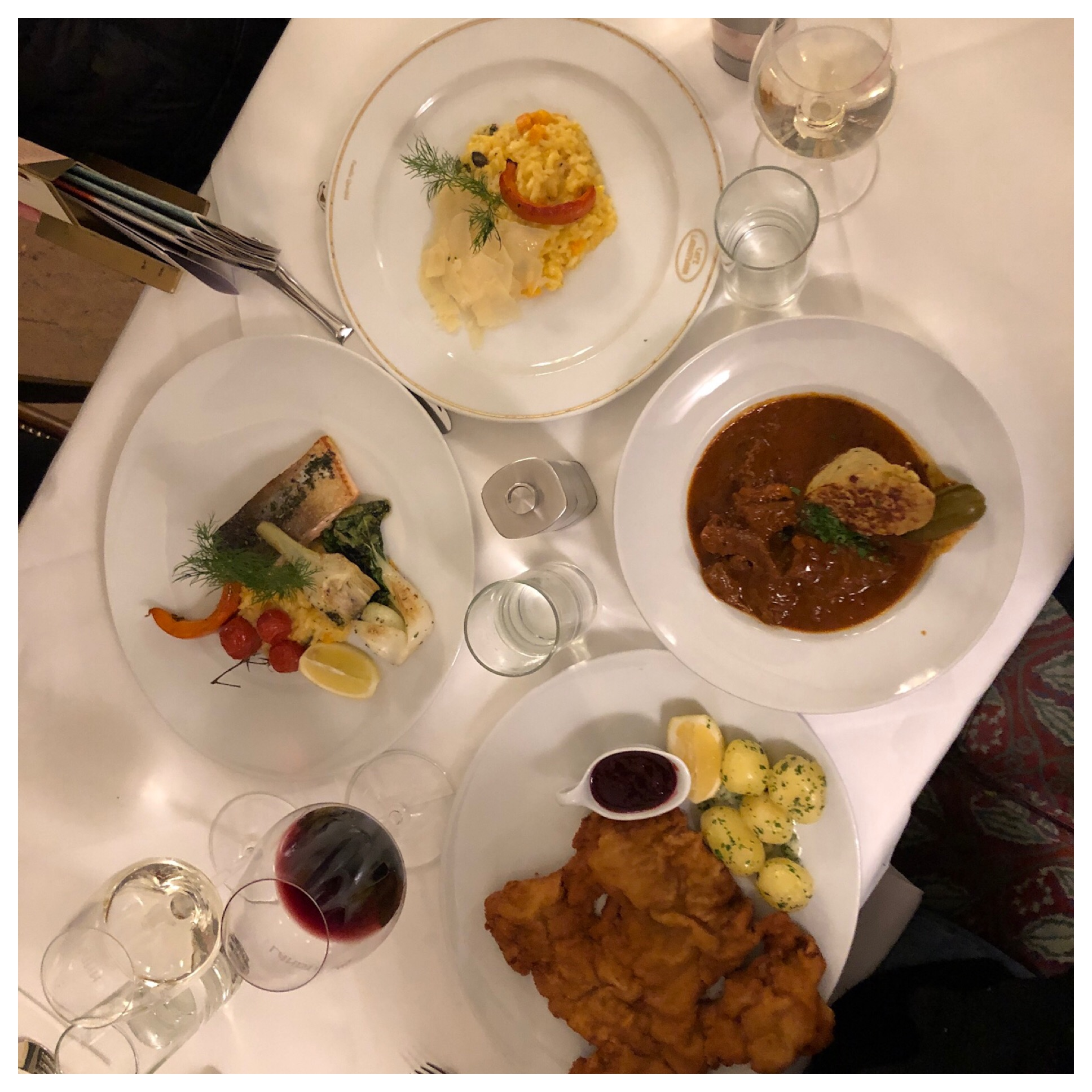 I had the goulash and Ava went for the wienerschnitzel. She had never had it and if not there then where? I think Meredith had salmon and risotto for Cheryl. All excellent!