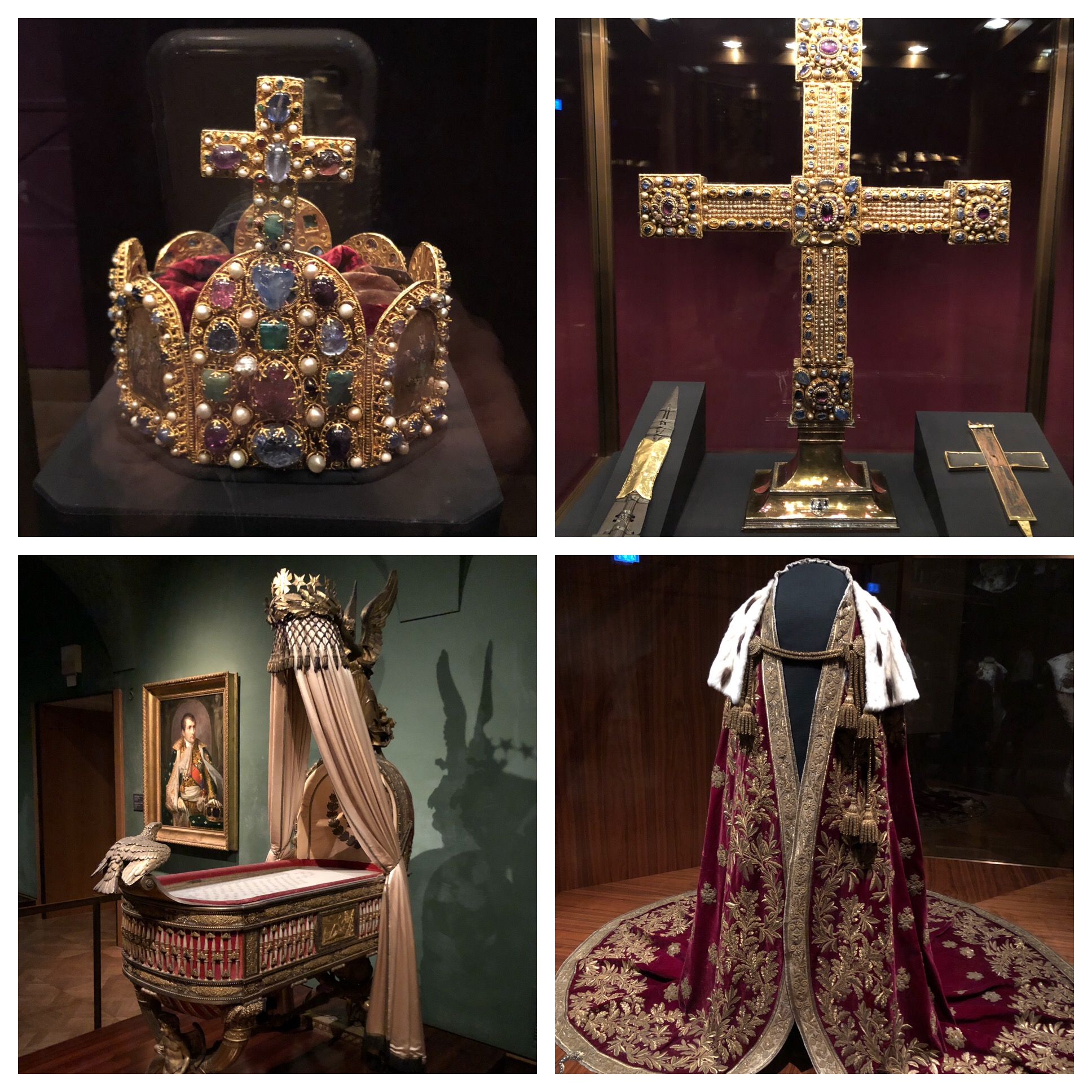 Top left - crown of the Holy Roman Emporer, top right - The Imperial Cross. The cross directly on the right of the big cross is an actual piece of  the  cross Jesus was crucified on! Bottom right - coronation vestments for the Austrian Emporer and bottom left - Cradle of the King of Rome.