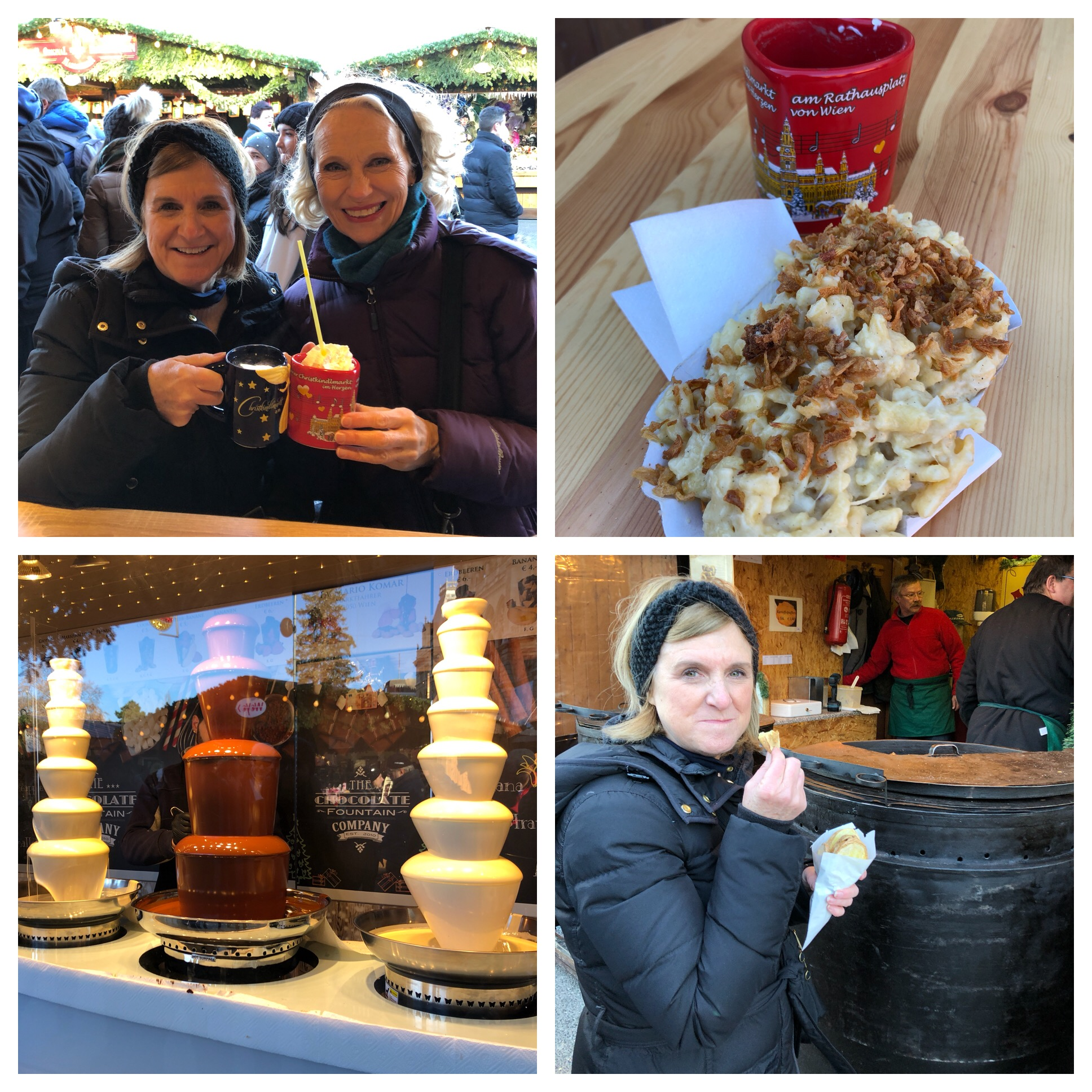Top right was lunch. We shared spaetzle with cheese and fried onions - Yumm! Bottom right is Cheryl having a potato wedge snack and bottom left - a chocolate fondue booth.