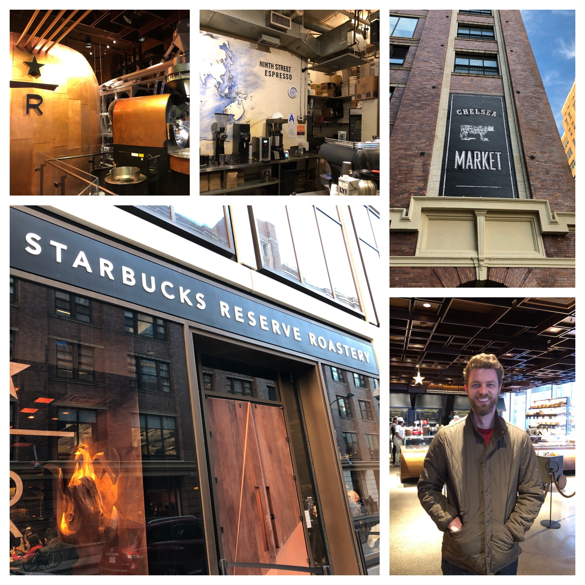 That's Tom inside Starbucks Reserve. We opted for coffee at the Chelsea Market from the Ninth St Espresso.