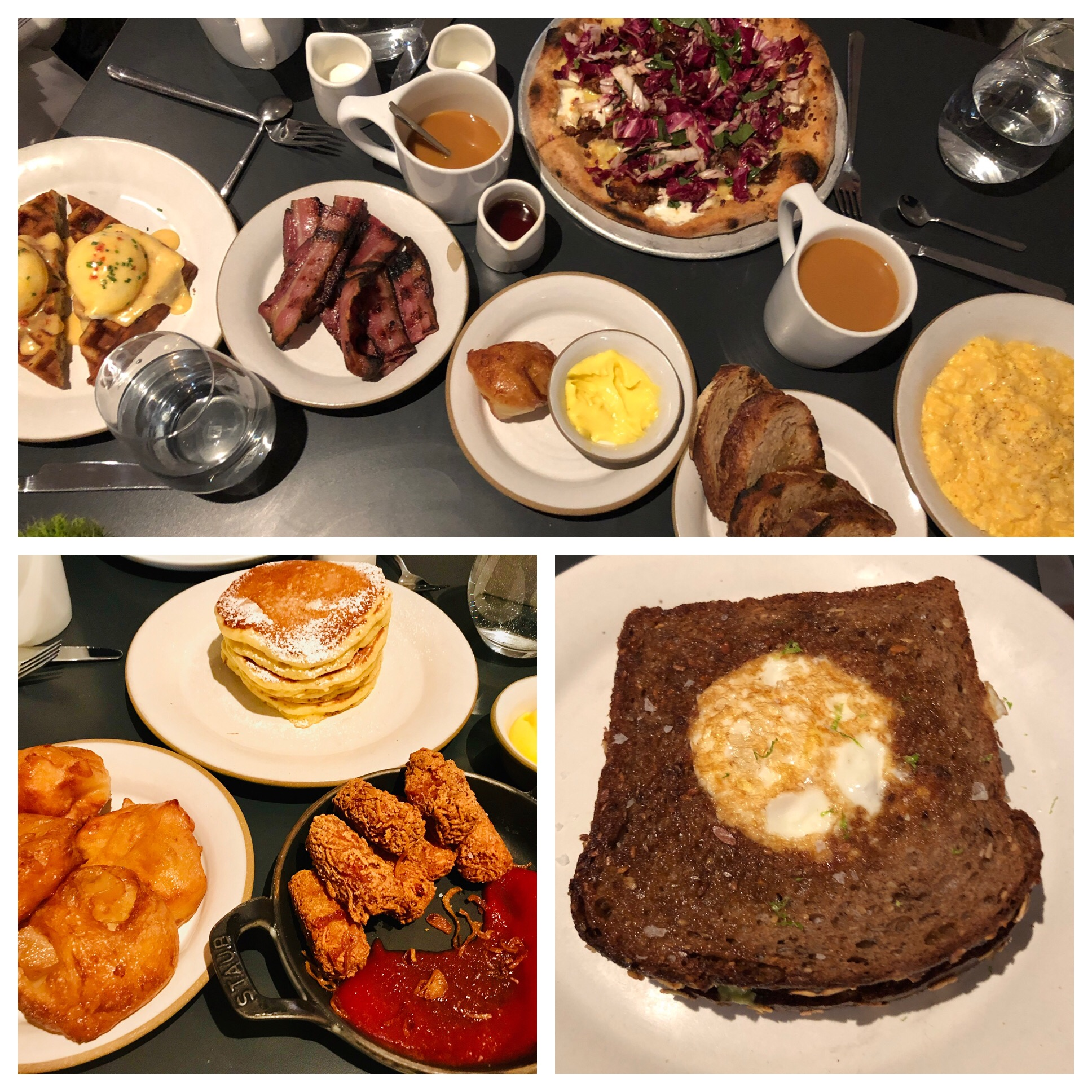 We shared appetizers of apple fritters, tater tots and pancakes with lemon curd. Then everyone picked an entree. Waffles with ham and cheese in the batter topped with eggs, a breakfast pizza that was savory and sweet, toad in the hole with avocado and eggs scrambled with crepe fraiche. And bacon😊