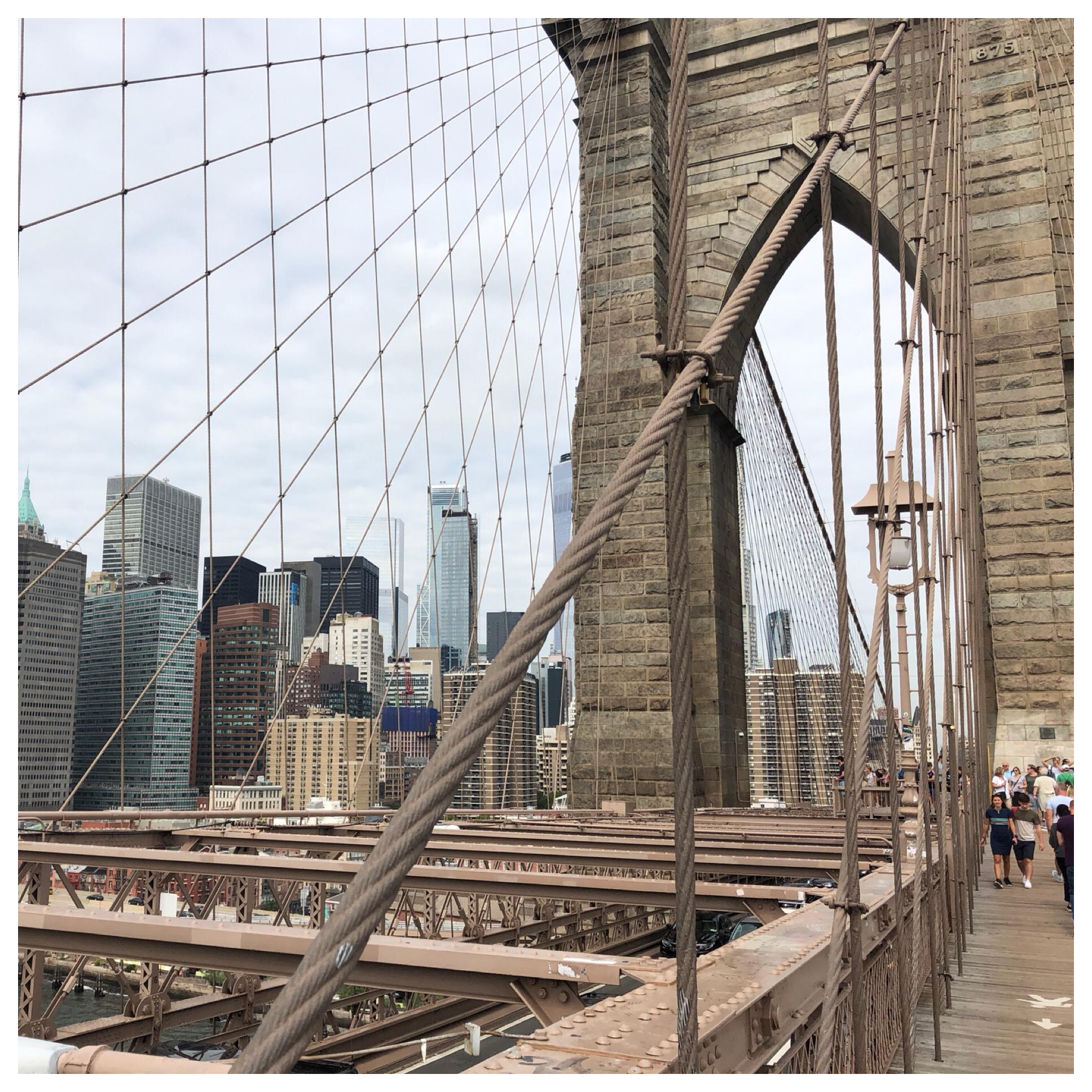 View of Manhattan from the Brooklyn Bridge.