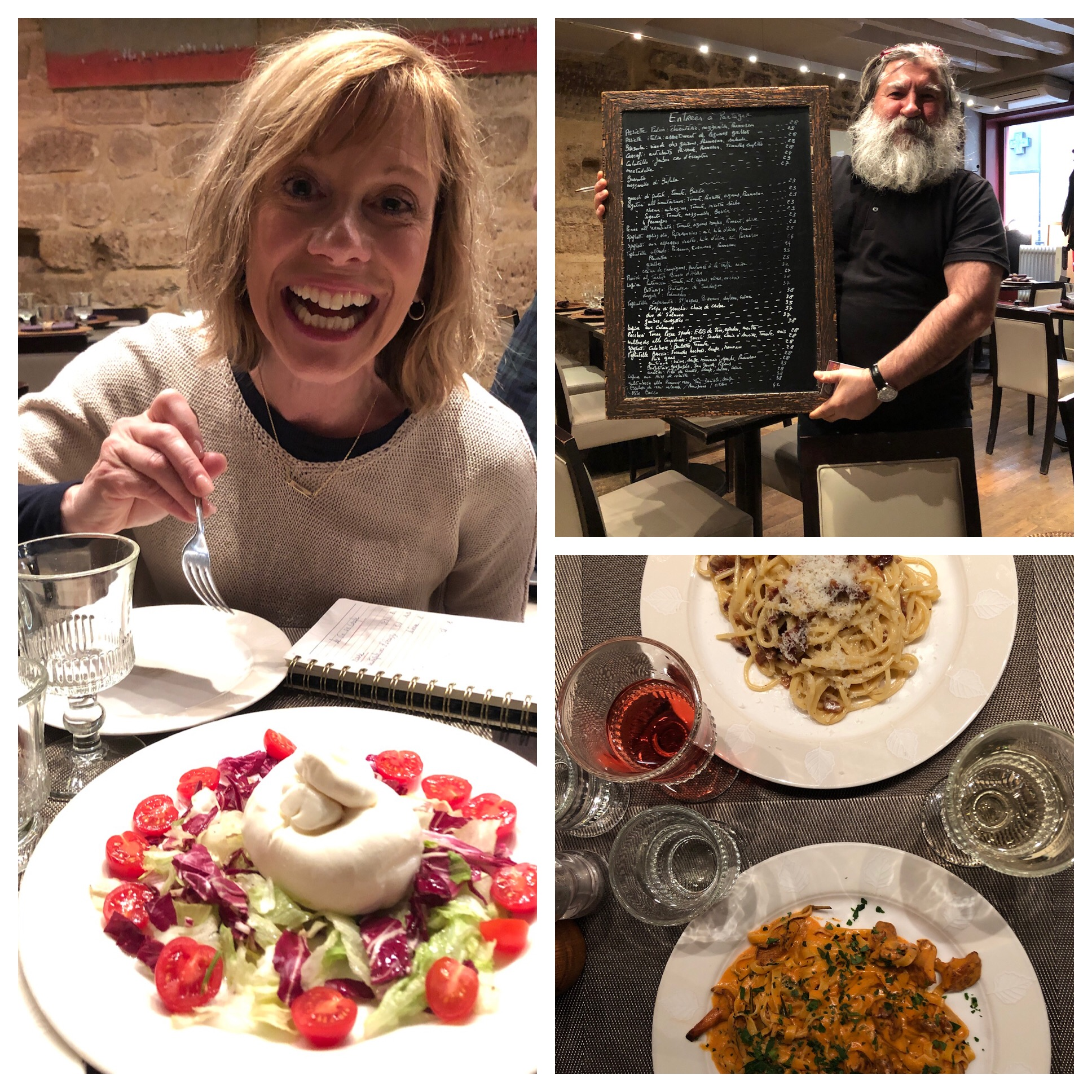 We shared the burrata appetizer and I can't remember what kind of pasta dishes we had but they were both great! And the wine list is hand written in a little notebook. I love that!