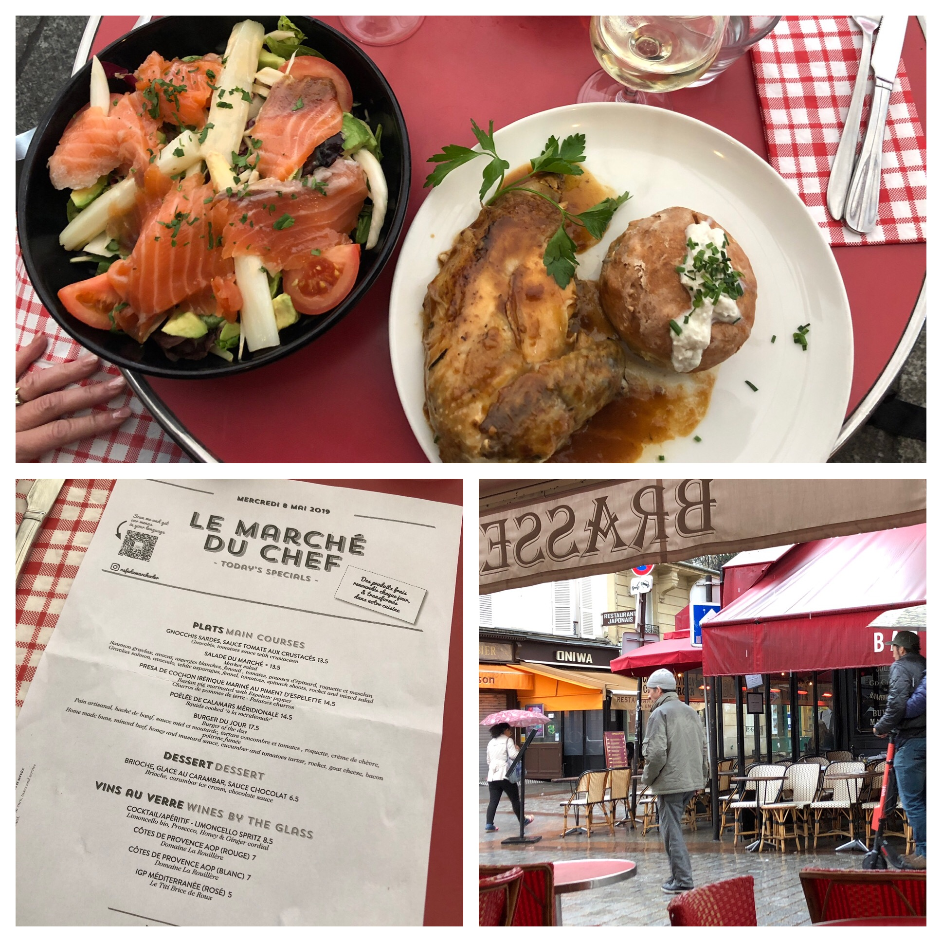 A smoked salmon salad with white asparagus for Julie and my favorite French chicken and a potato in some kind of a pastry encasement. We did sit outside even though it was raining. Those awnings and heaters make it possible.