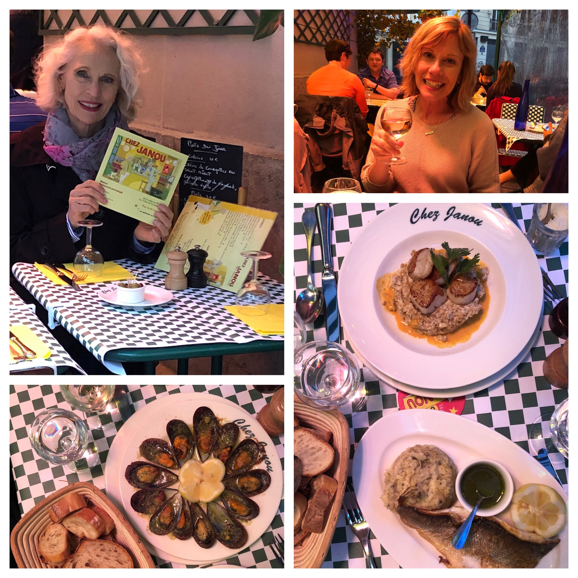 We shared amazing mussels for an appetizer - then scallops and risotto for Julie and Sea Bass with mashed potato for me. Yumm!
