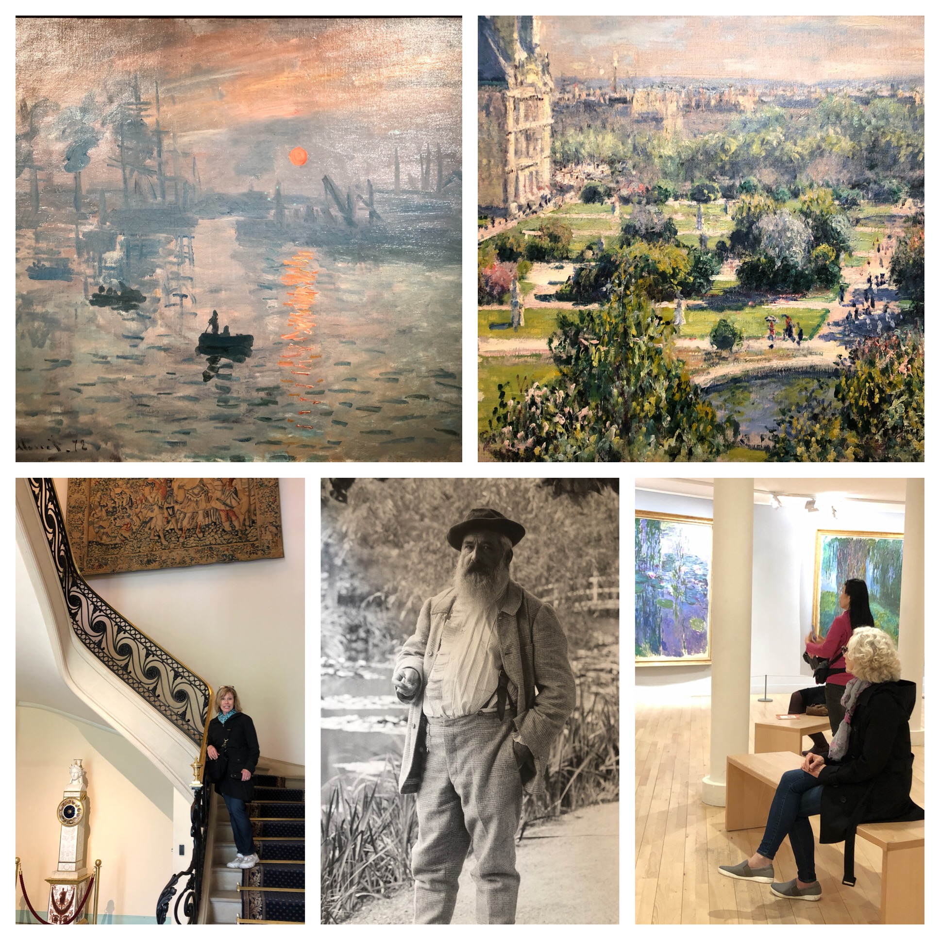 Top left is the painting that started the Impressionist movement -  Sunrise.