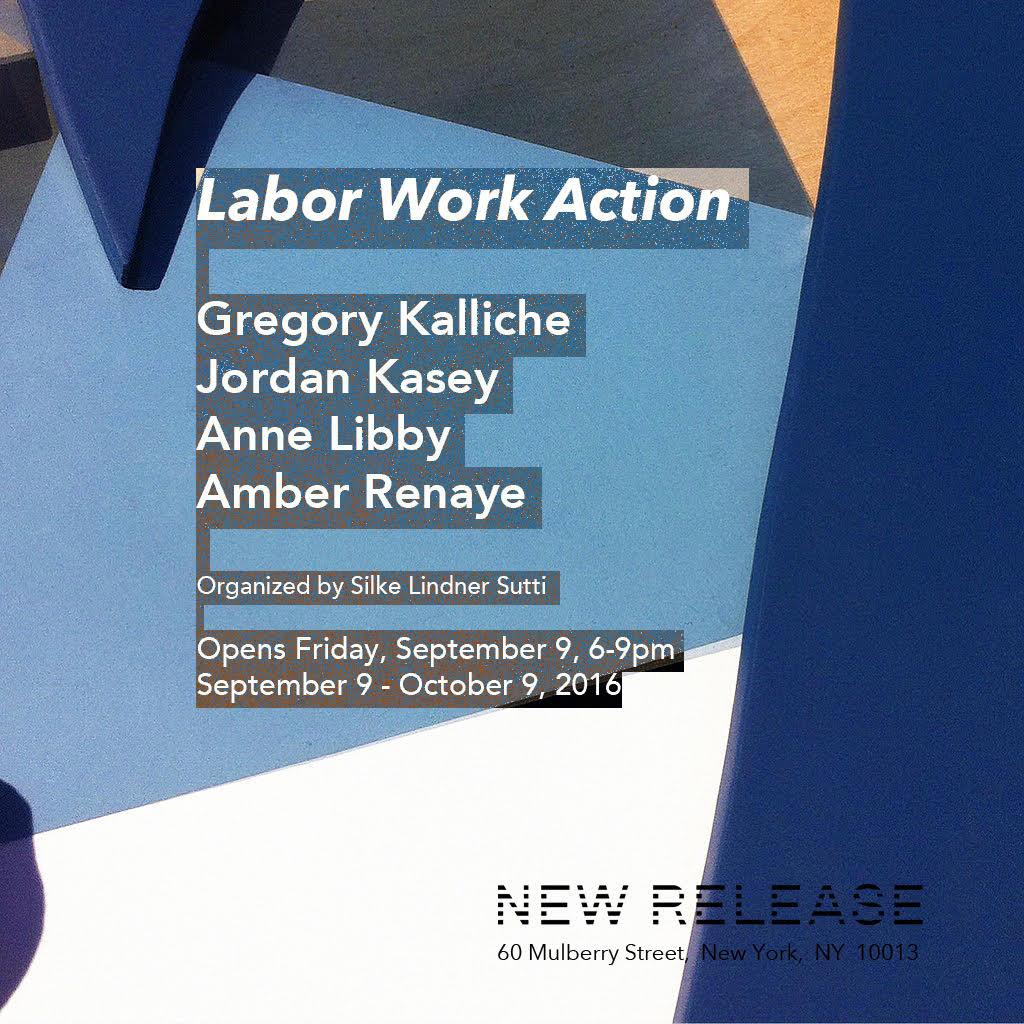 "LABOR WORK ACTION    Gregory Kalliche, Jordan Kasey, Anne Libby, Amber Renaye    Organized by Silke Lindner Sutti    September 9 - October 9, 2016    _____________________________________________________________________________________________    LABOR   is the activity which corresponds to the biological process of the human body […] The human condition of labor is life itself.    WORK   is the activity which corresponds to the unnaturalness of human existence, which is not embedded in, and whose mortality is not compensated by, the species' ever-recurring life cycle.  Work provides an artificial world of things, distinctly different from all natural surroundings.    ACTION   is the only activity that goes on directly between men without the intermediary of thing or matter, corresponds to the human condition of plurality […] Plurality is the condition of human action because we are all the same, that is, human, in such a way that nobody is ever the same as anyone else who ever lived, lives, or will live.                                                                                                                                                                                                                                                                                                                                                   Hannah Arendt,   The Human Condition,   1958    _________________________________________________________________________________________                            In   The Human Condition  , Hannah Arendt asserts that human life on earth consists of three fundamental activities: labor, work, and action. This exhibition features work by Gregory Kalliche, Jordan Kasey, Anne Libby, and Amber Renaye that place themselves within these fundamentals. Addressing the automatization of everyday life, the dualism of nature and   technology, and the interaction of our shared space on earth, all works connect through the human activity of work that distinguishes the human as   homo faber:   the creator of an artificial world of things who is able to determine his fate through tools.    The Human Condition   was published almost 60 years ago, at a time when one could only guess how technology would dominate the future. Arendt's certainty and clarity in which she predetermines the development of technological extensions of the human brain and body are remarkable. The works in the exhibition combine these still valid fundamentals of activities while positioning them in new perspectives on technology.    Anne Libby's   sculptures    explore the relations of labor, mass production and technology. Using a CNC router - a computer controlled cutting machine - Libby combines and contrasts the characteristics of plywood and Formica. Formica, a highly industrial and durable material usually used for work surfaces and countertops - is shaped into ornamental flowers drawn from reproductions of Art Nouveau designs.   The way the Formica droops off the plywood creates a wilting quality that highlights the fragile shift from manual labor to mass manufacturing at the beginning of the 20th century.      Jordan Kasey  's paintings explore the tension and interaction of the shared space of matter and physicality. Not togetherness but distance and solidarity are palpable in the space they occupy. Monumental larger-than-life figures spill out over the edges of the canvas.   TV Dinner   (2016) shows the back of a figure whose own interactions are paused while watching the acts of others.    Amber Renaye  's audio piece   Four Four   (2016) and corresponding wall-bound sculptures contemplate how ""life is managing life"". Here, the necessity of walking - placing one foot in front of the other - is emblematic for labor as automated activity. Rather than walking a straight line from A to B the steps give room for the space in-between.    The dualism of nature and artificiality is epitomized in a dinosaur-human hybrid in   Gregory Kalliche  's video   Last Chance (  2016). The video is named after the Heaven's Gate cult's video appeal   Last Chance to Evacuate Planet Earth Before it is Recycled   (1997) recorded shortly before the group's collective suicide. In an inner monologue the humanized character of   Last Chance   attempts to overcome the 'imprisonment to the earth', escaping the human condition in favor of a yet undiscovered man-made condition."