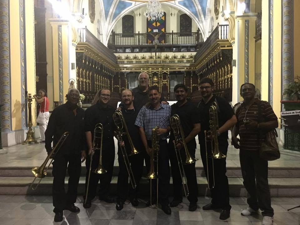 Post concert at the cathedral in Santiago de Cuba with some of the local musicians